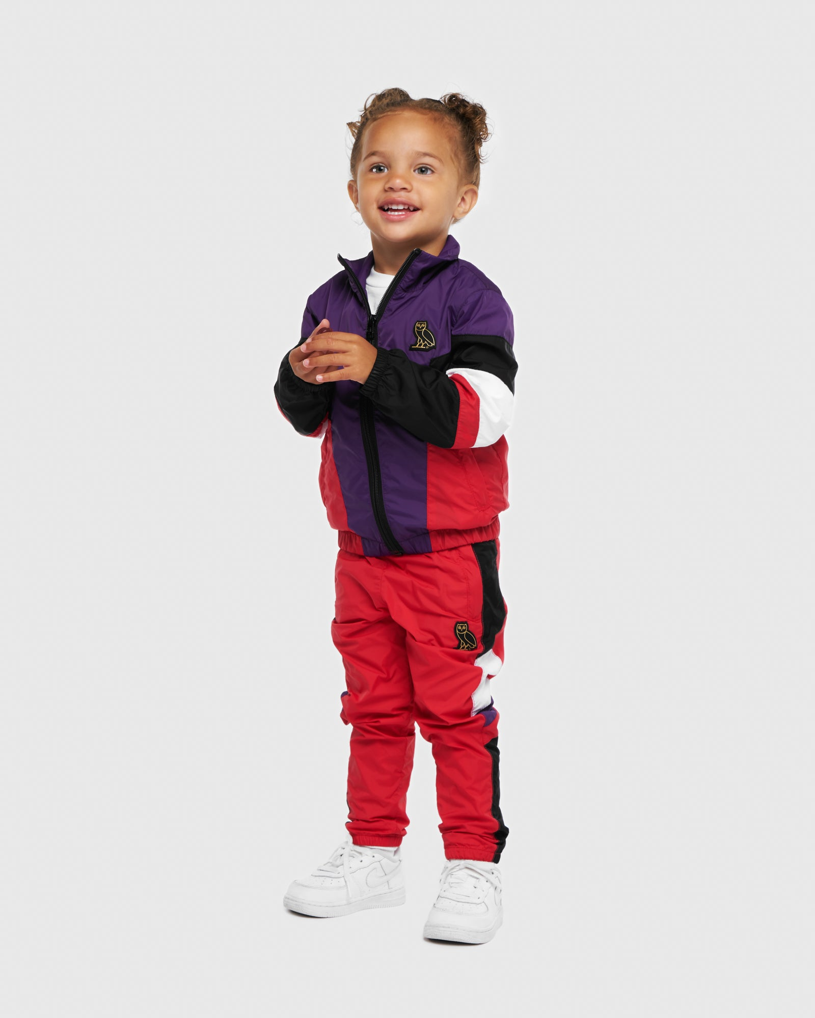 KIDS COLOUR BLOCK NYLON JACKET - RED IMAGE #2