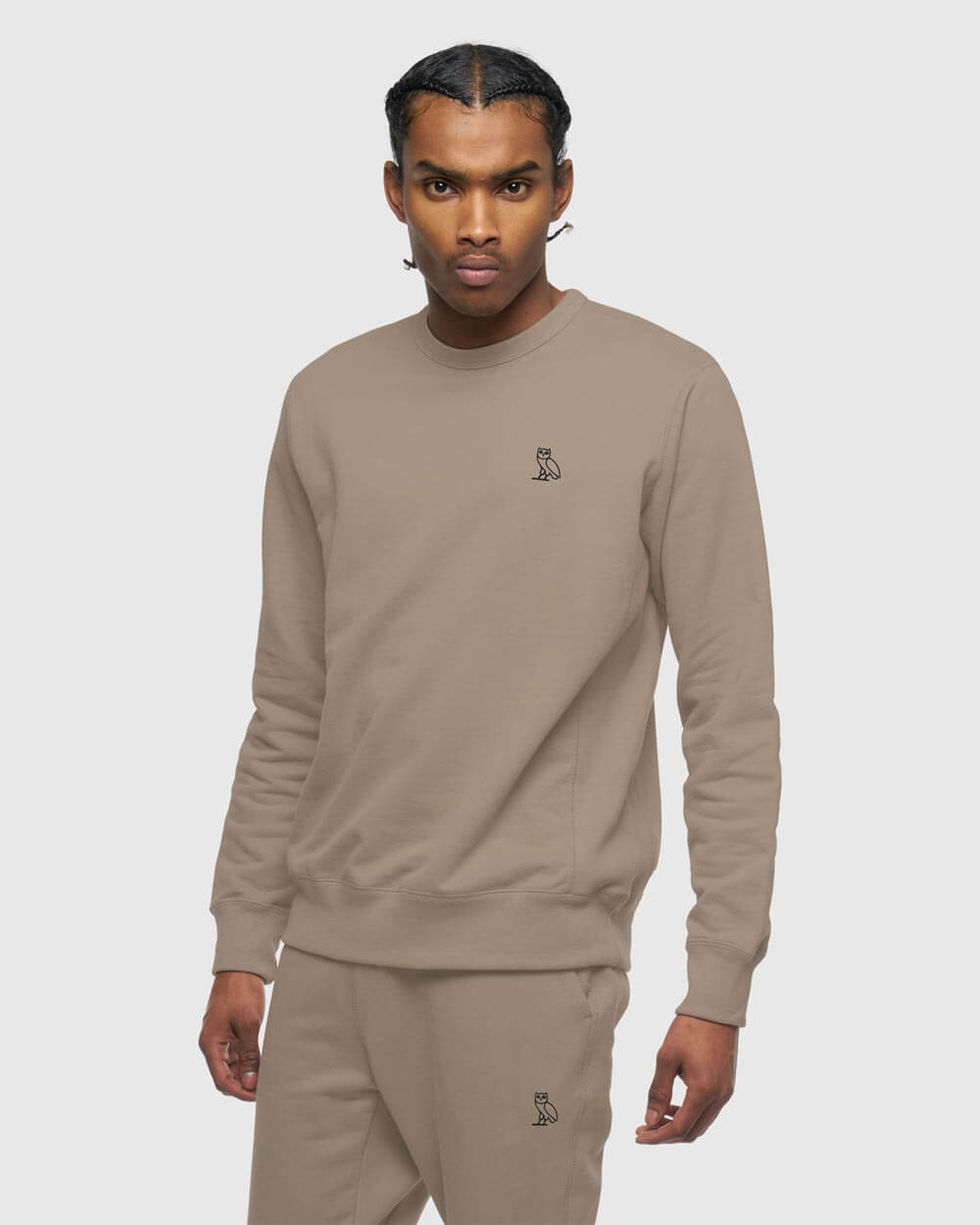 MID-WEIGHT FRENCH TERRY CREW -  WARM GREY