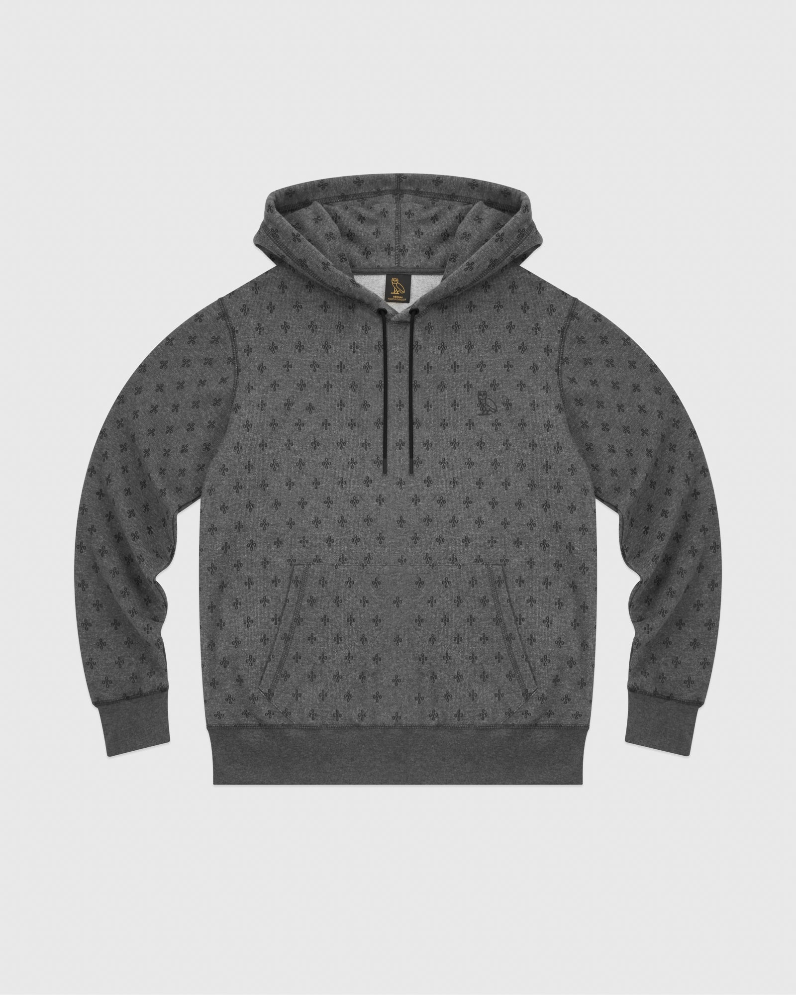 OVO MONOGRAM HOODIE - HEATHER CHARCOAL