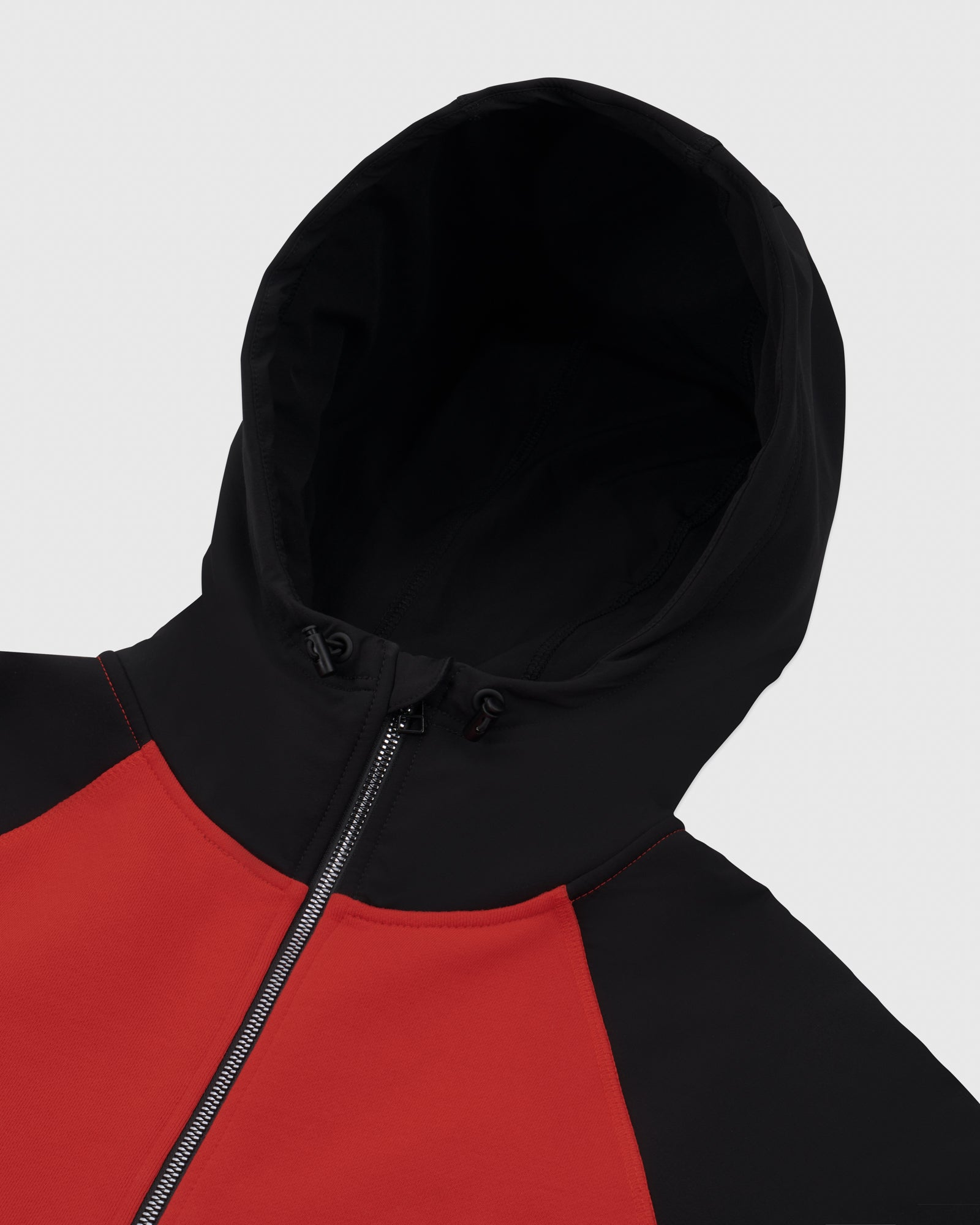 OVO POLAR-NYLON ZIP HOODIE - RED/BLACK