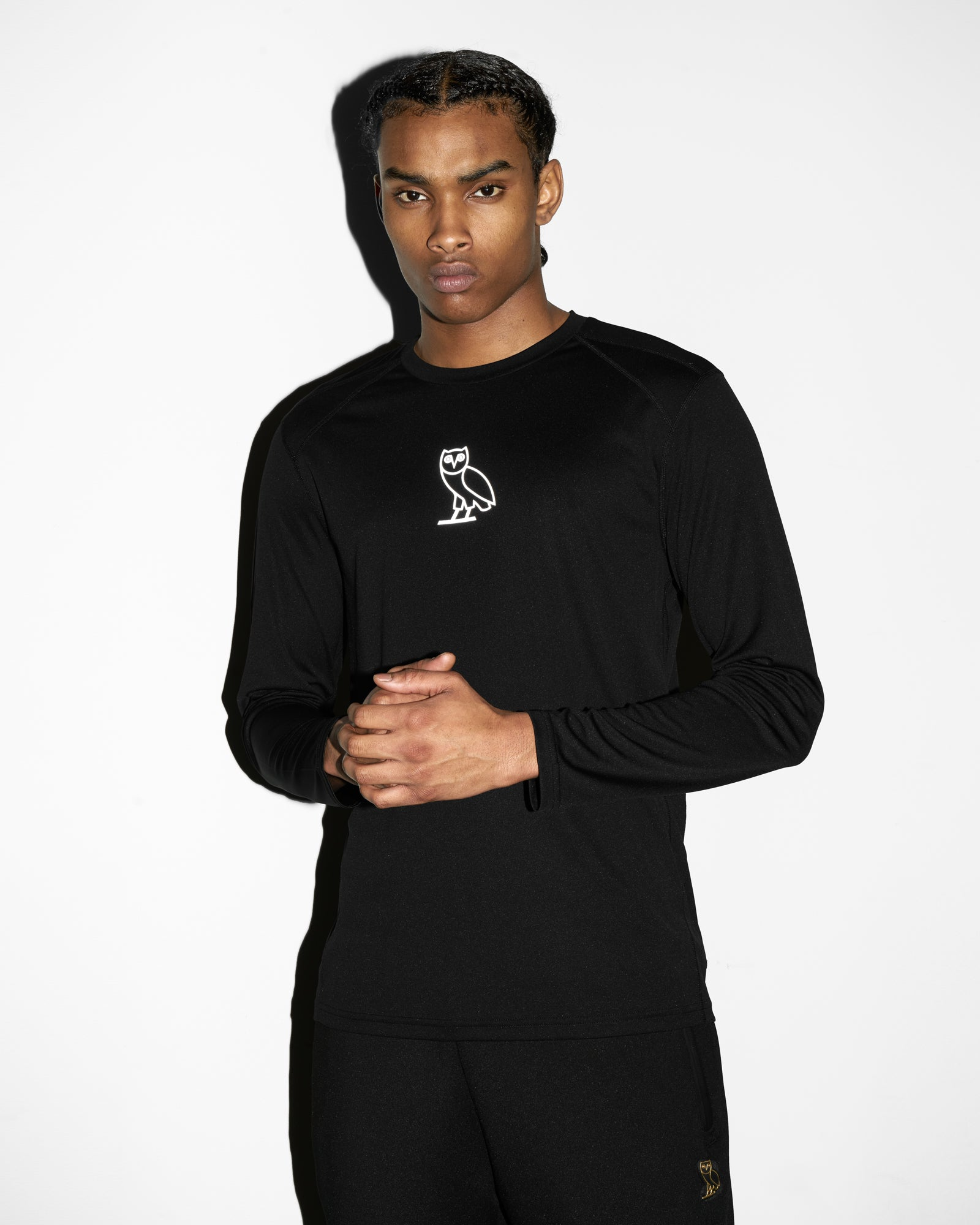 OVO OWL PERFORMANCE LONGSLEEVE T-SHIRT - BLACK