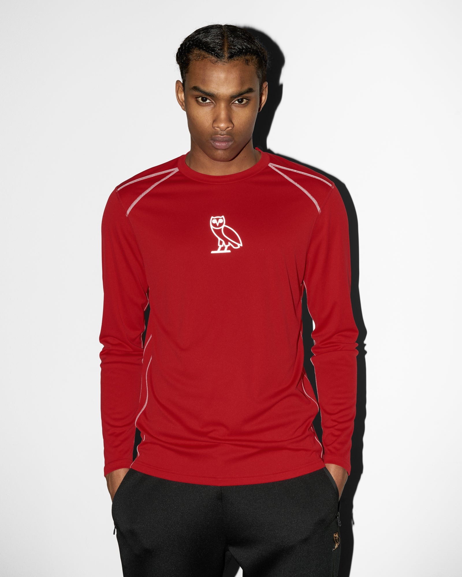 OVO OWL PERFORMANCE LONGSLEEVE T-SHIRT - RED IMAGE #2
