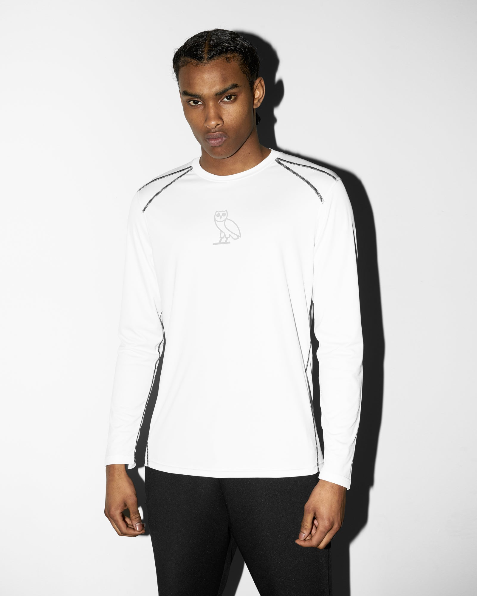 OVO OWL PERFORMANCE LONGSLEEVE T-SHIRT - WHITE