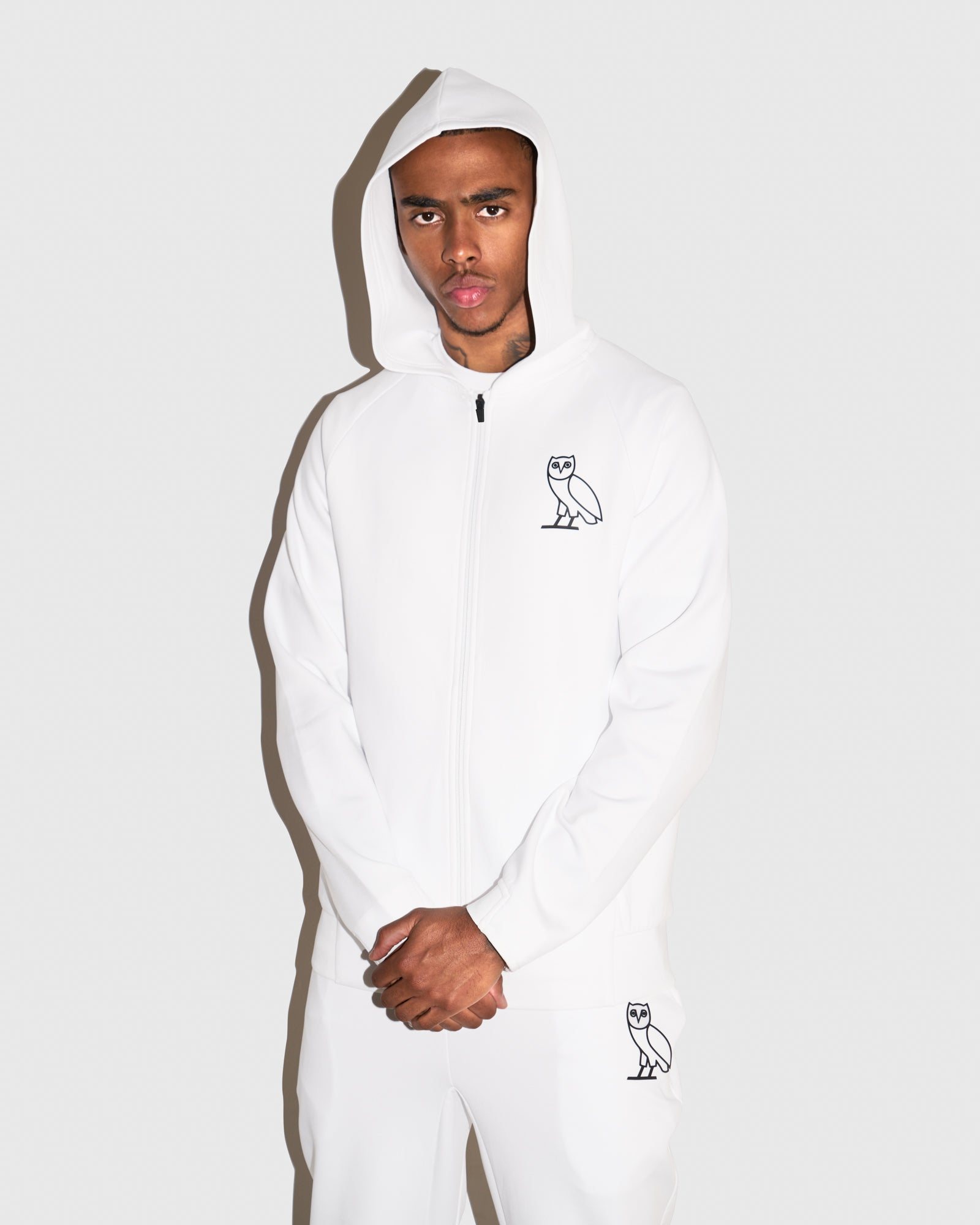 OVO DOUBLE KNIT ZIP HOODIE - WHITE IMAGE #2
