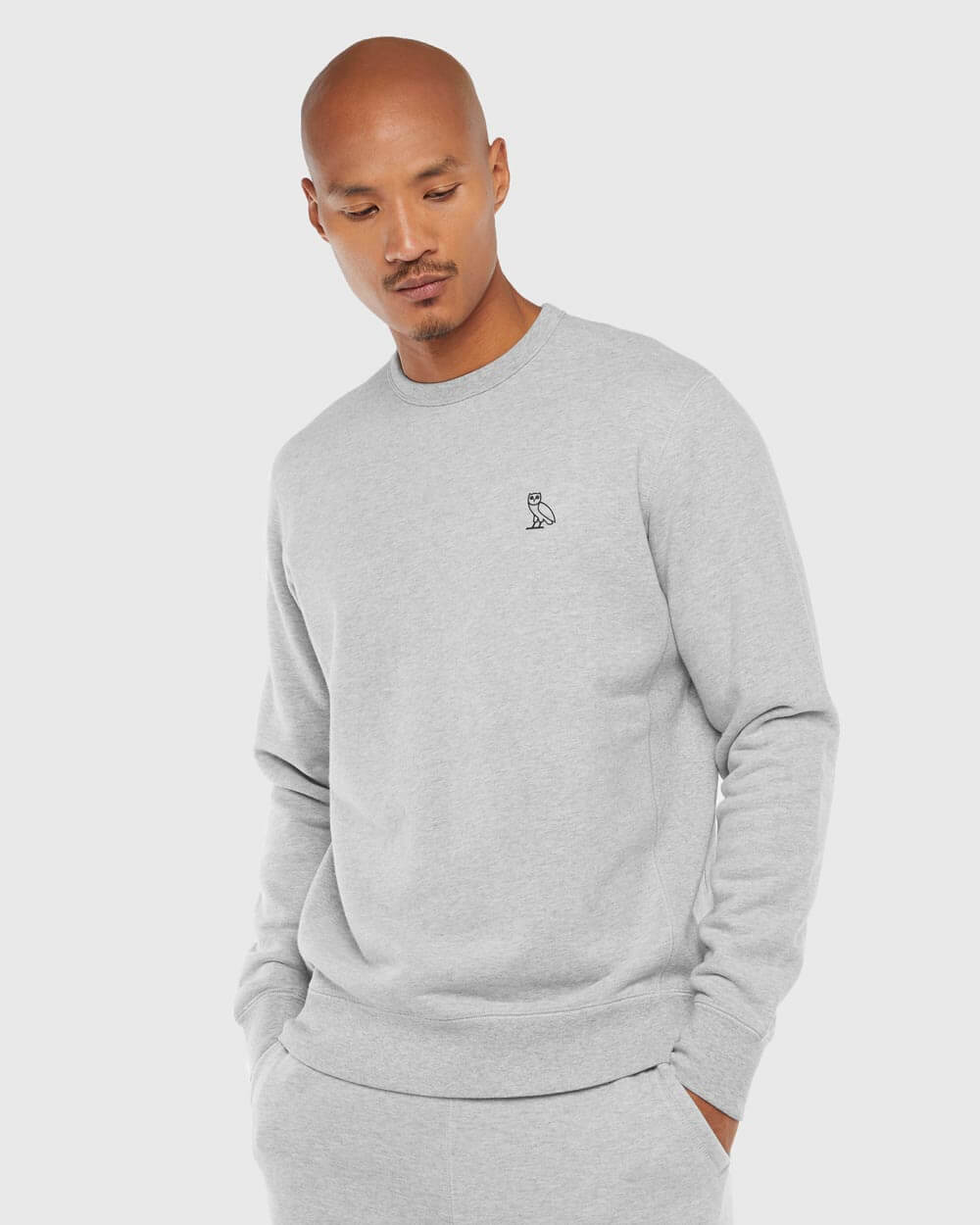MID-WEIGHT FRENCH TERRY CREW - HEATHER GREY
