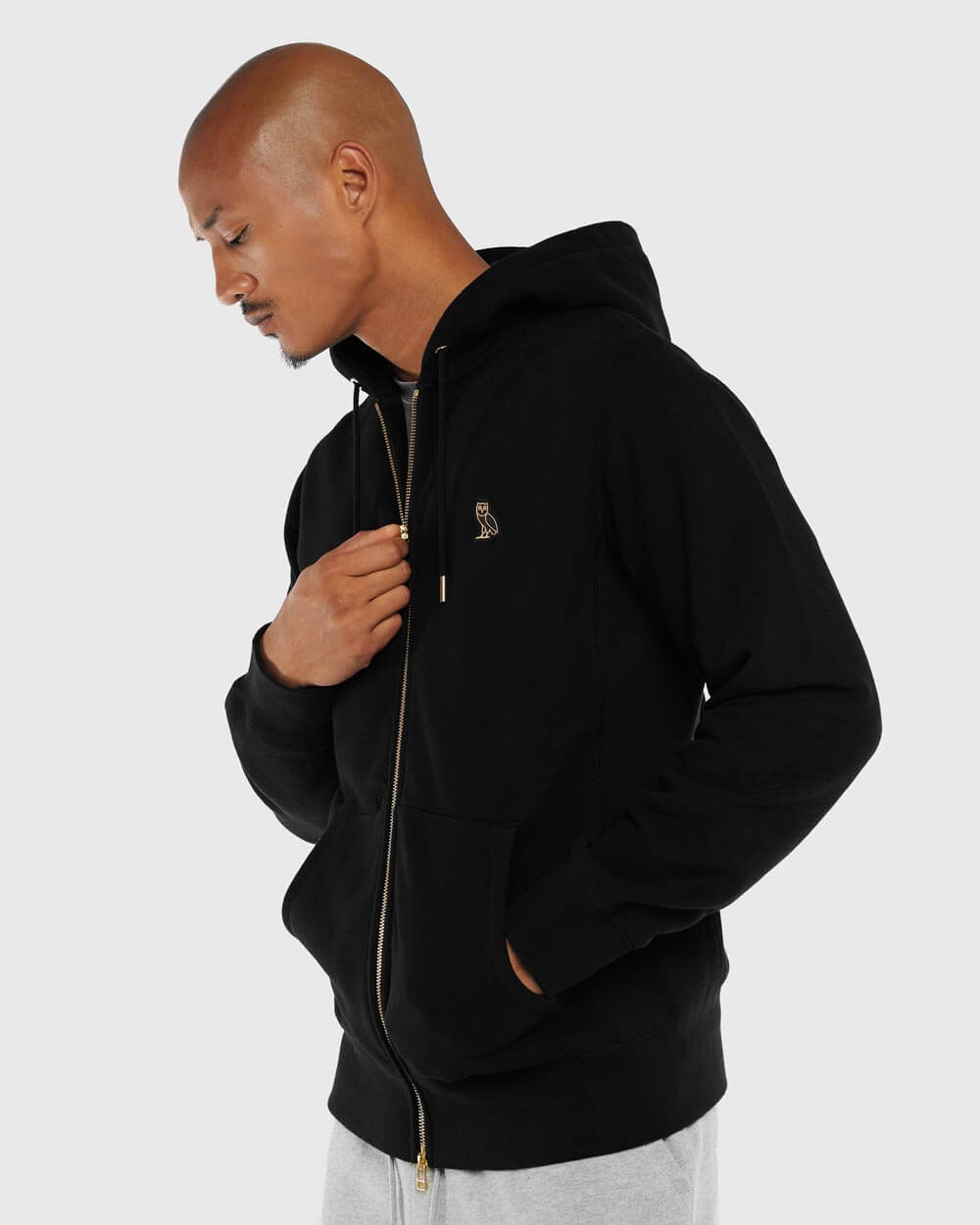 OVO ESSENTIALS ZIP HOODIE - BLACK IMAGE #2