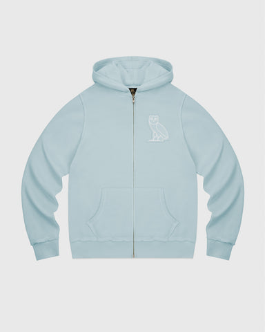 RAW EDGE FRENCH TERRY ZIP HOODIE - BABY BLUE