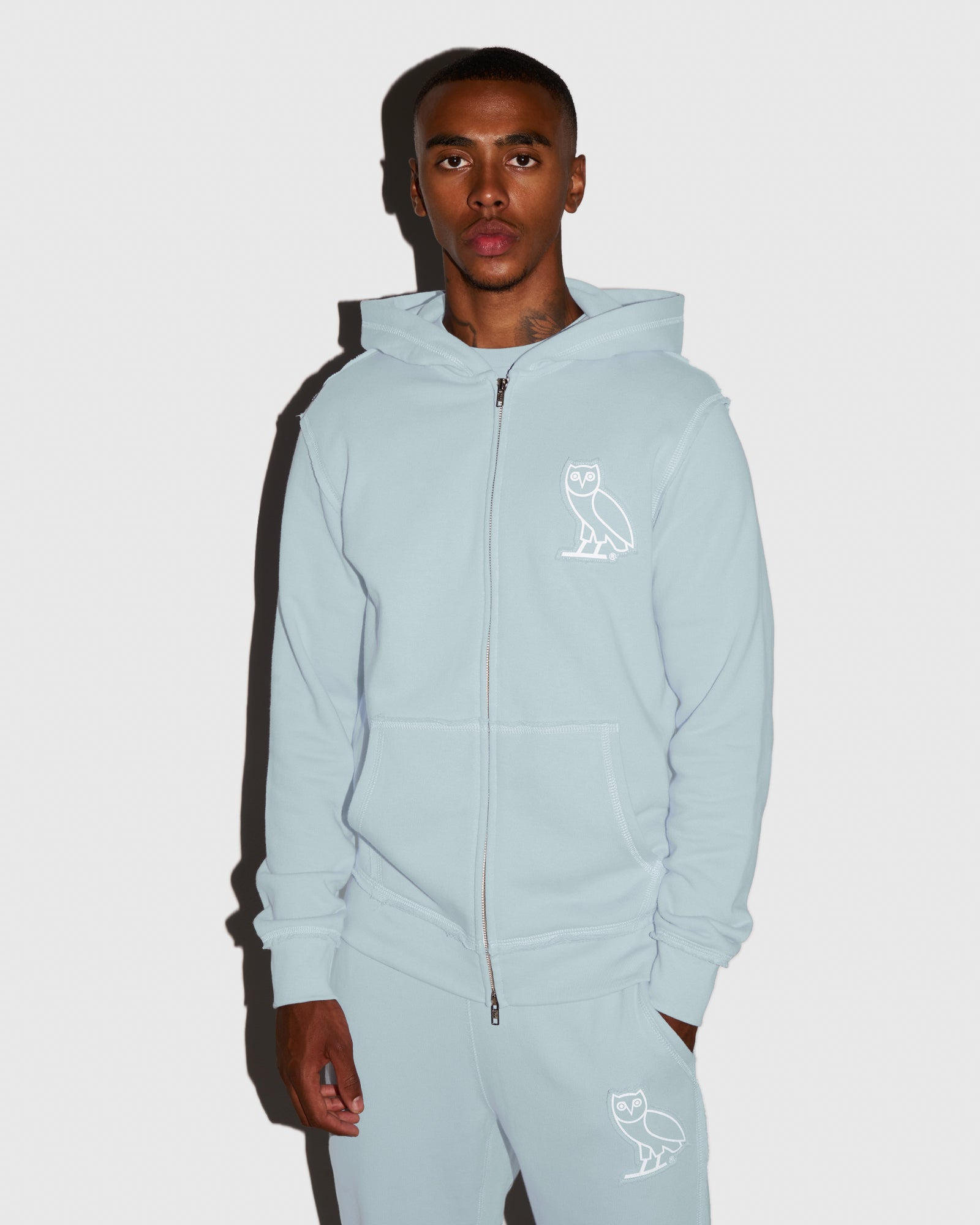RAW EDGE FRENCH TERRY ZIP HOODIE - BABY BLUE IMAGE #2