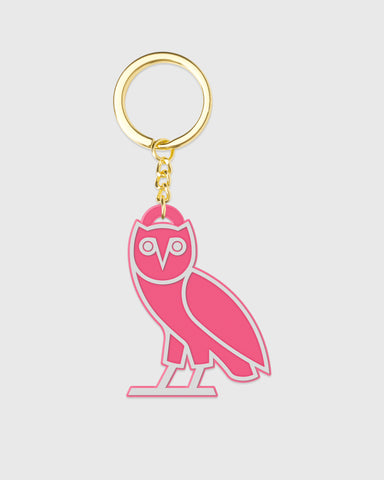 OVO SILICONE OWL KEYCHAIN - NEON PINK
