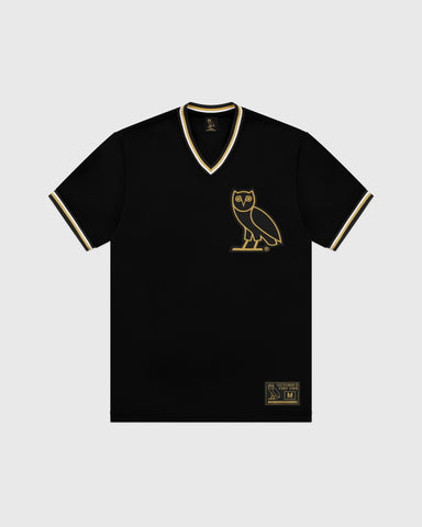 OVO V-NECK BASEBALL JERSEY - BLACK
