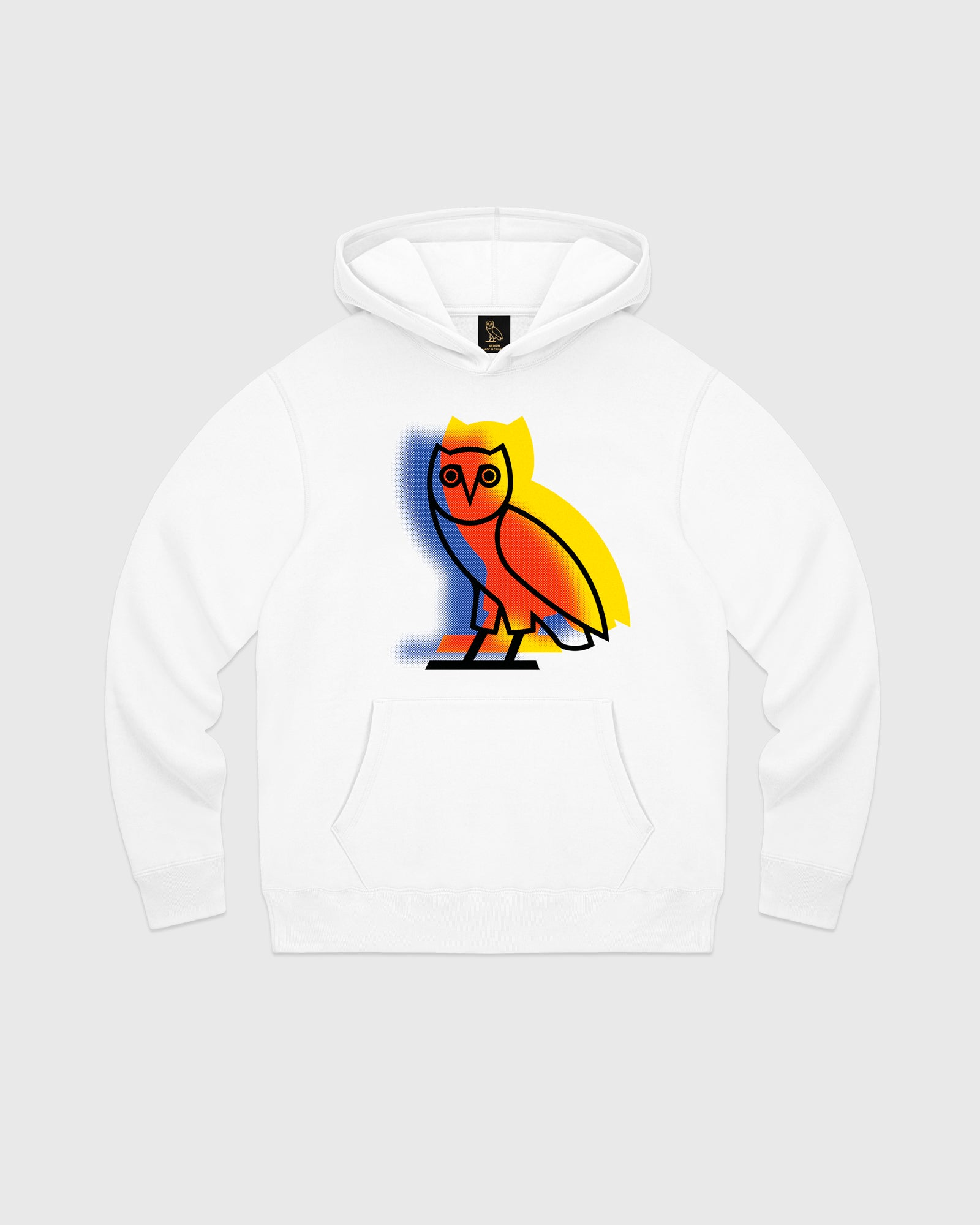 STENCIL OWL HOODIE - WHITE IMAGE #1