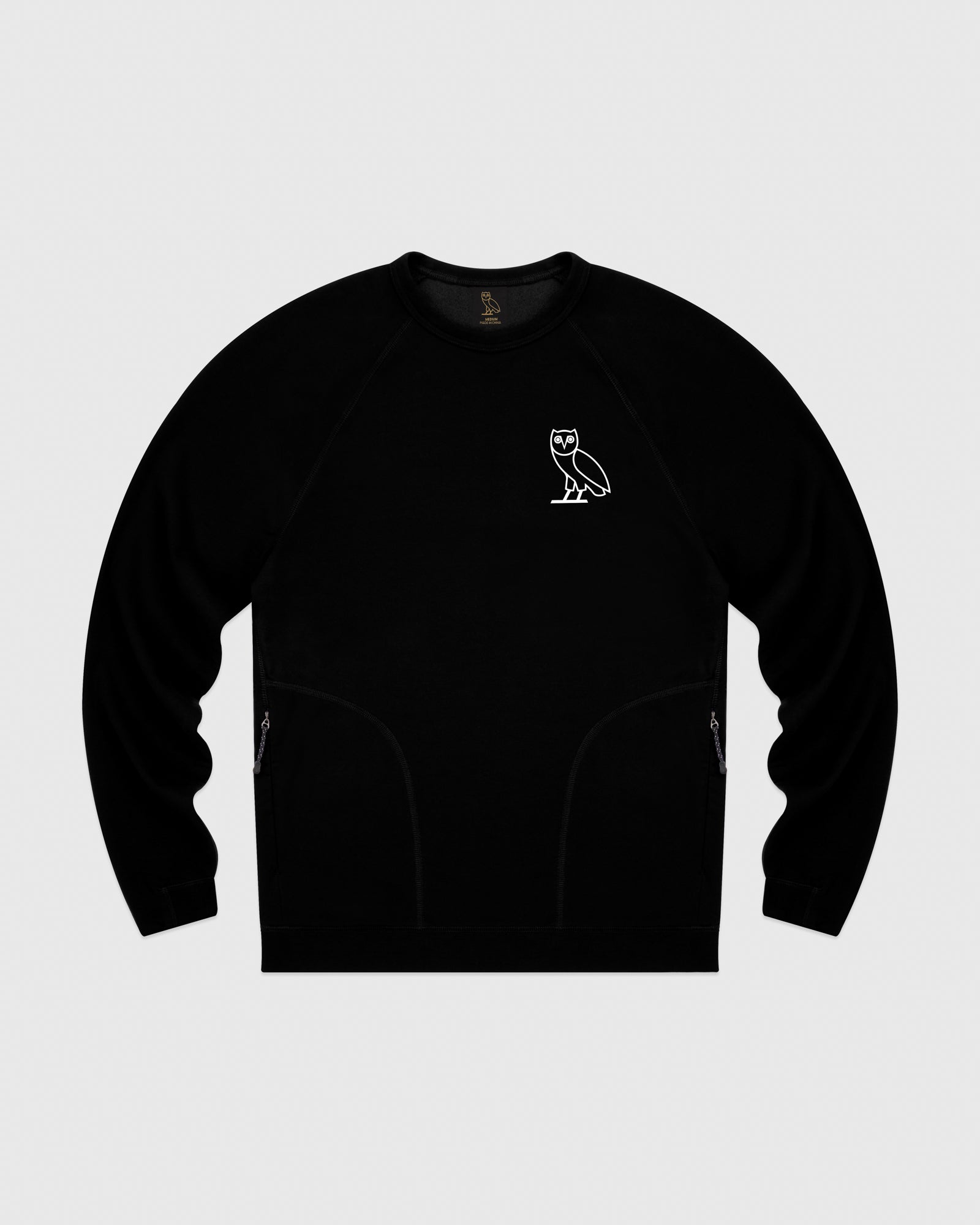 OVO LIGHTWEIGHT FRENCH TERRY CREWNECK - BLACK IMAGE #1
