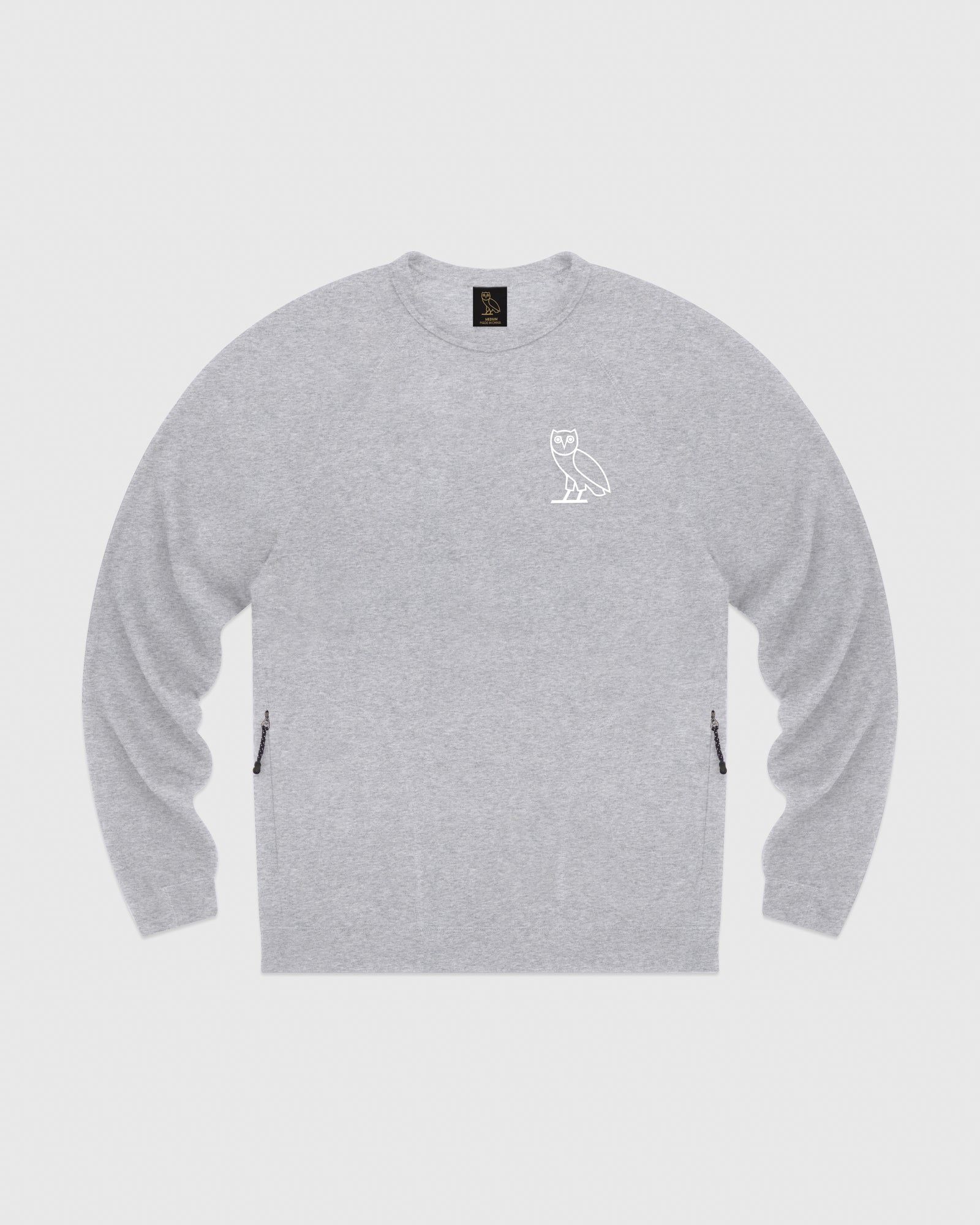 OVO LIGHTWEIGHT FRENCH TERRY CREWNECK - HEATHER GREY IMAGE #1