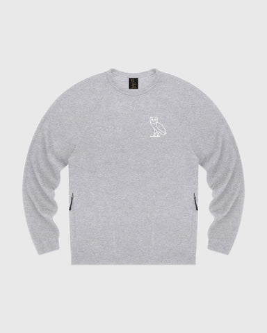 OVO LIGHTWEIGHT FRENCH TERRY CREWNECK - HEATHER GREY