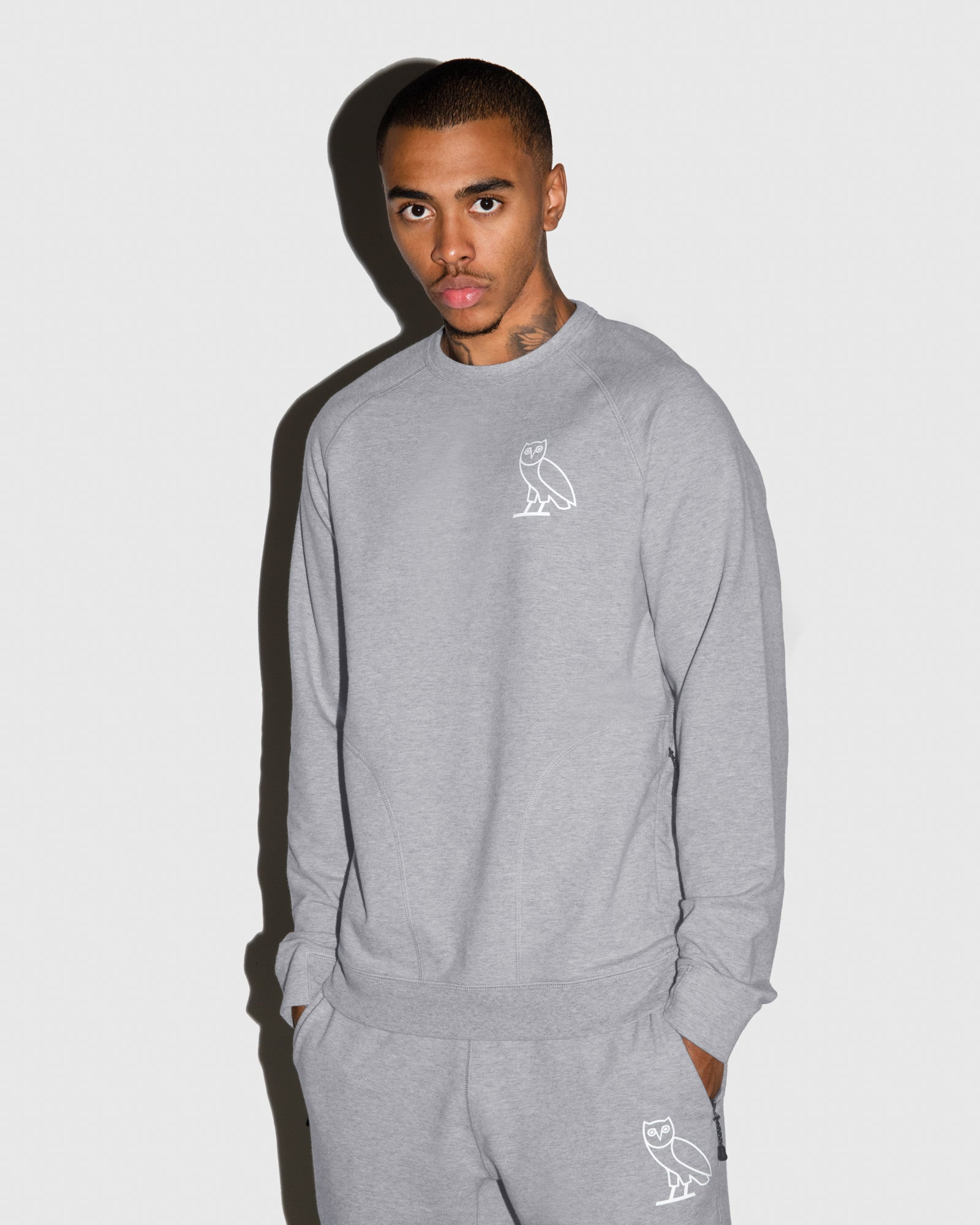 OVO LIGHTWEIGHT FRENCH TERRY CREWNECK - HEATHER GREY IMAGE #2