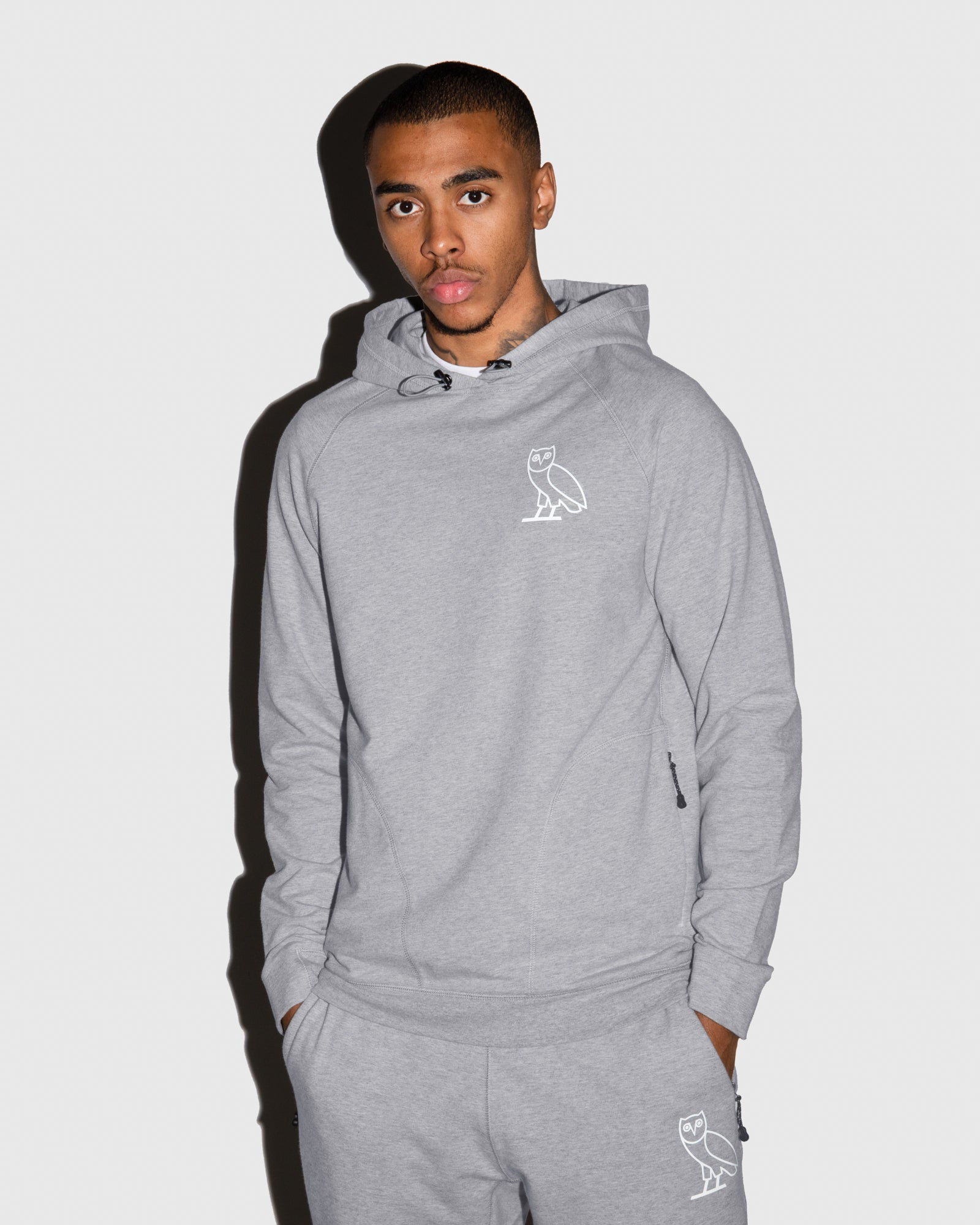 OVO LIGHTWEIGHT FRENCH TERRY HOODIE - HEATHER GREY IMAGE #2