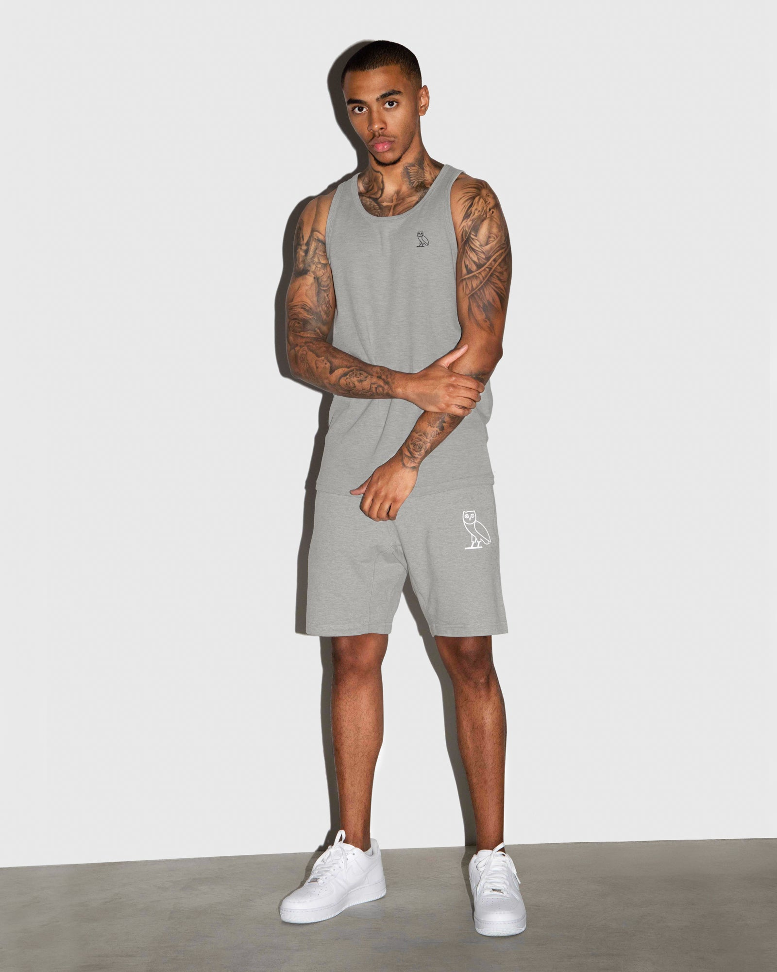 OVO LIGHTWEIGHT FRENCH TERRY SHORT - HEATHER GREY IMAGE #2