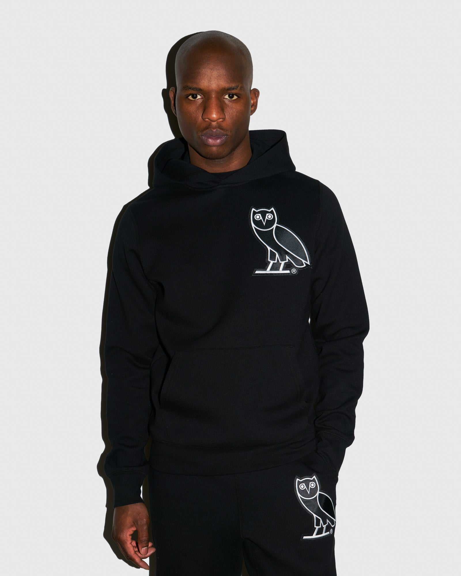 OVO FRANCHISE DOUBLE KNIT HOODIE - BLACK IMAGE #2