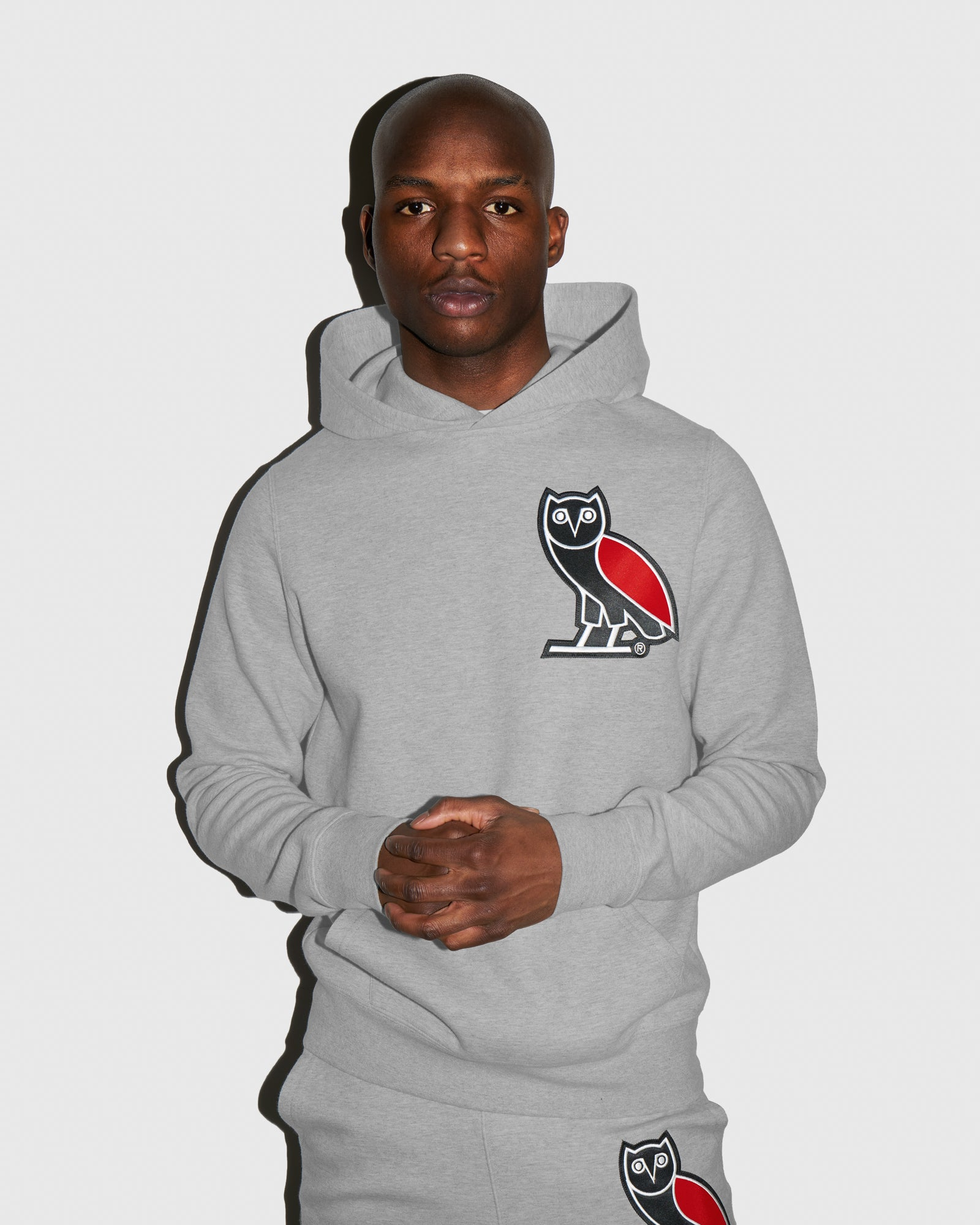 OVO FRANCHISE DOUBLE KNIT HOODIE - HEATHER GREY IMAGE #2