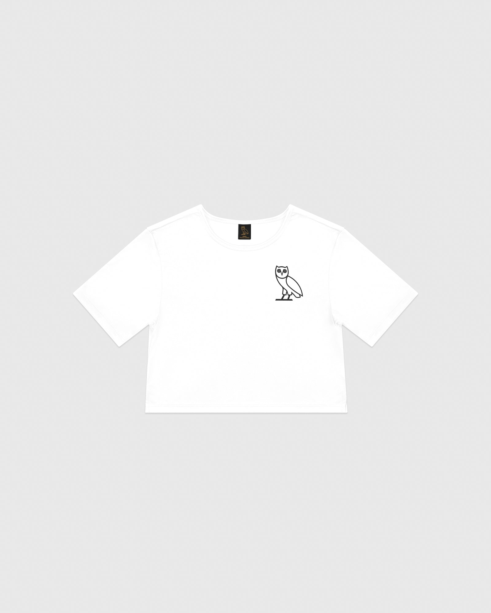 WOMEN'S OVO CROPPED T-SHIRT - WHITE IMAGE #1