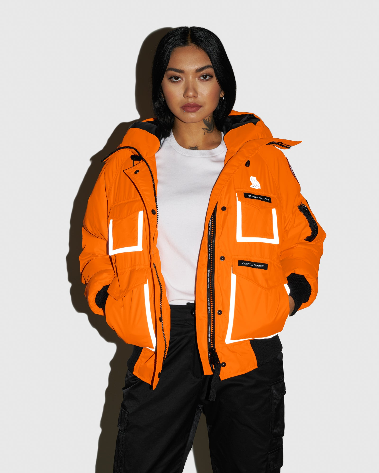 OVO X CANADA GOOSE WOMEN'S CHILLIWACK BOMBER - ORANGE IMAGE #2