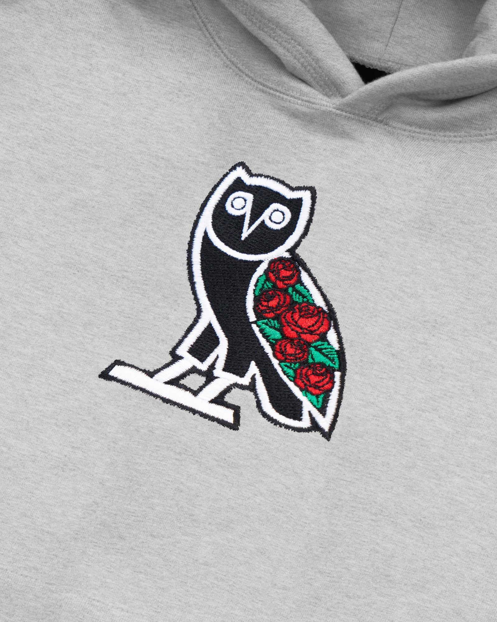 SANDRA'S ROSE CLASSIC OWL HOODIE - HEATHER GREY