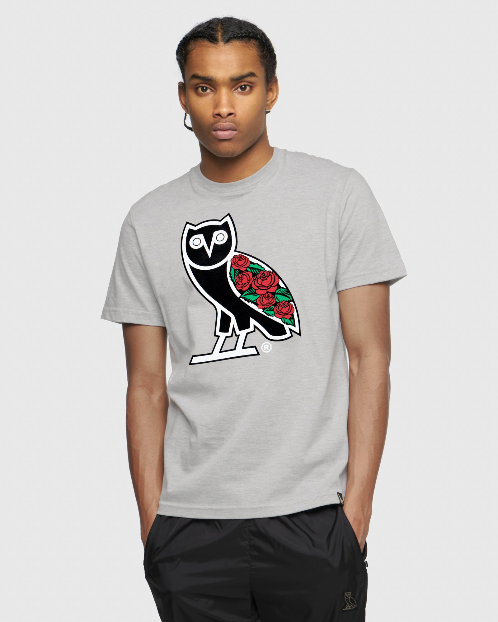 SANDRA'S ROSE OG OWL T-SHIRT - HEATHER GREY