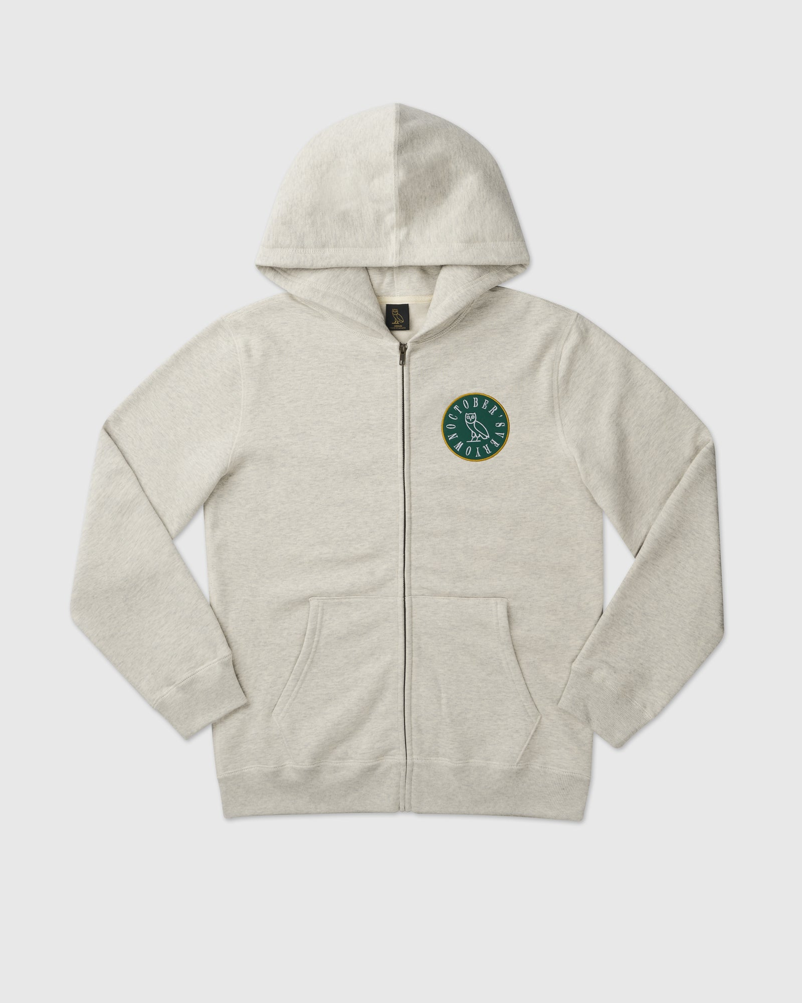 CIRCLE WORDMARK PATCH FULL-ZIP HOODIE - EGGSHELL HEATHER IMAGE #1