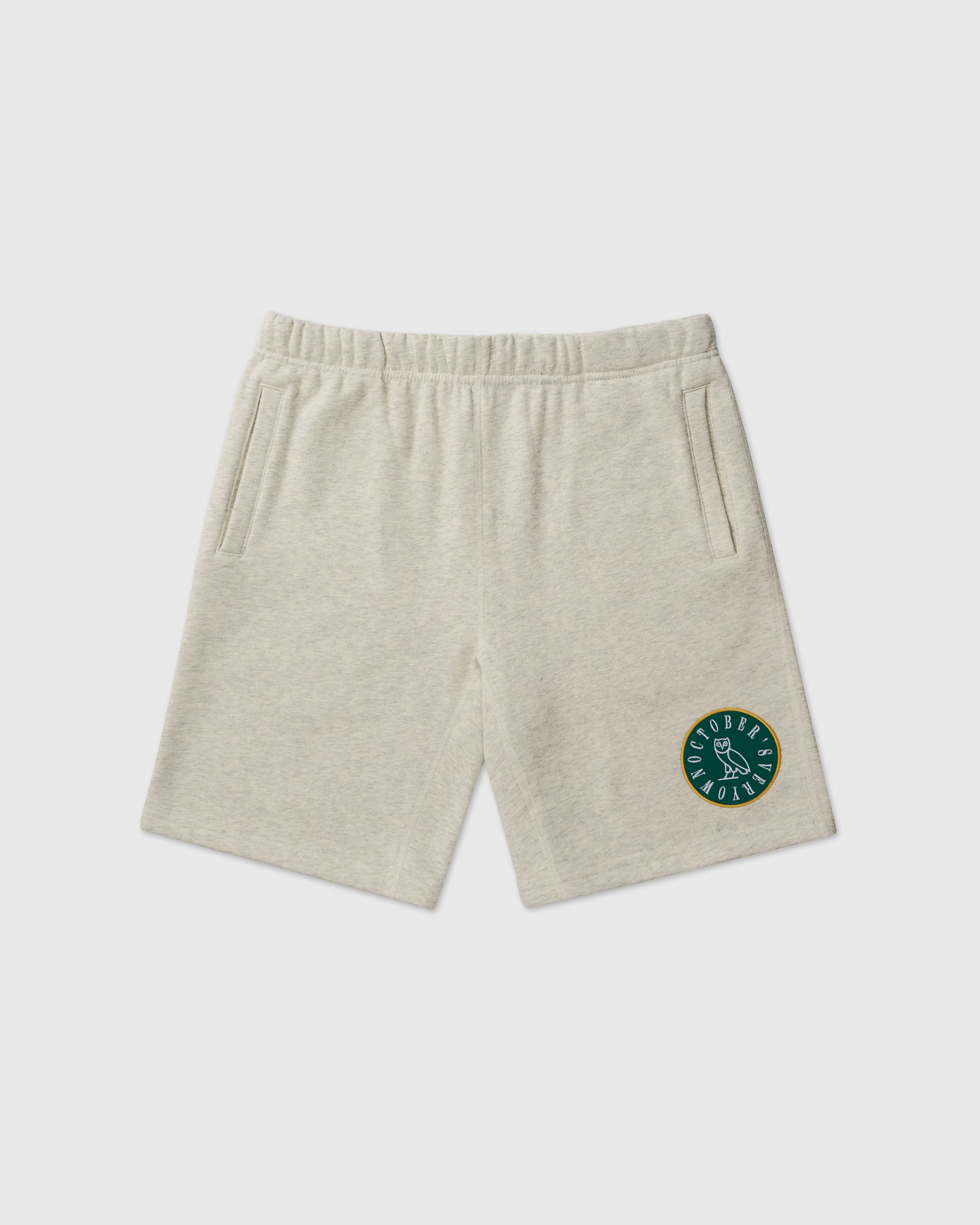 CIRCLE WORDMARK PATCH SWEAT SHORT - EGGSHELL HEATHER IMAGE #1