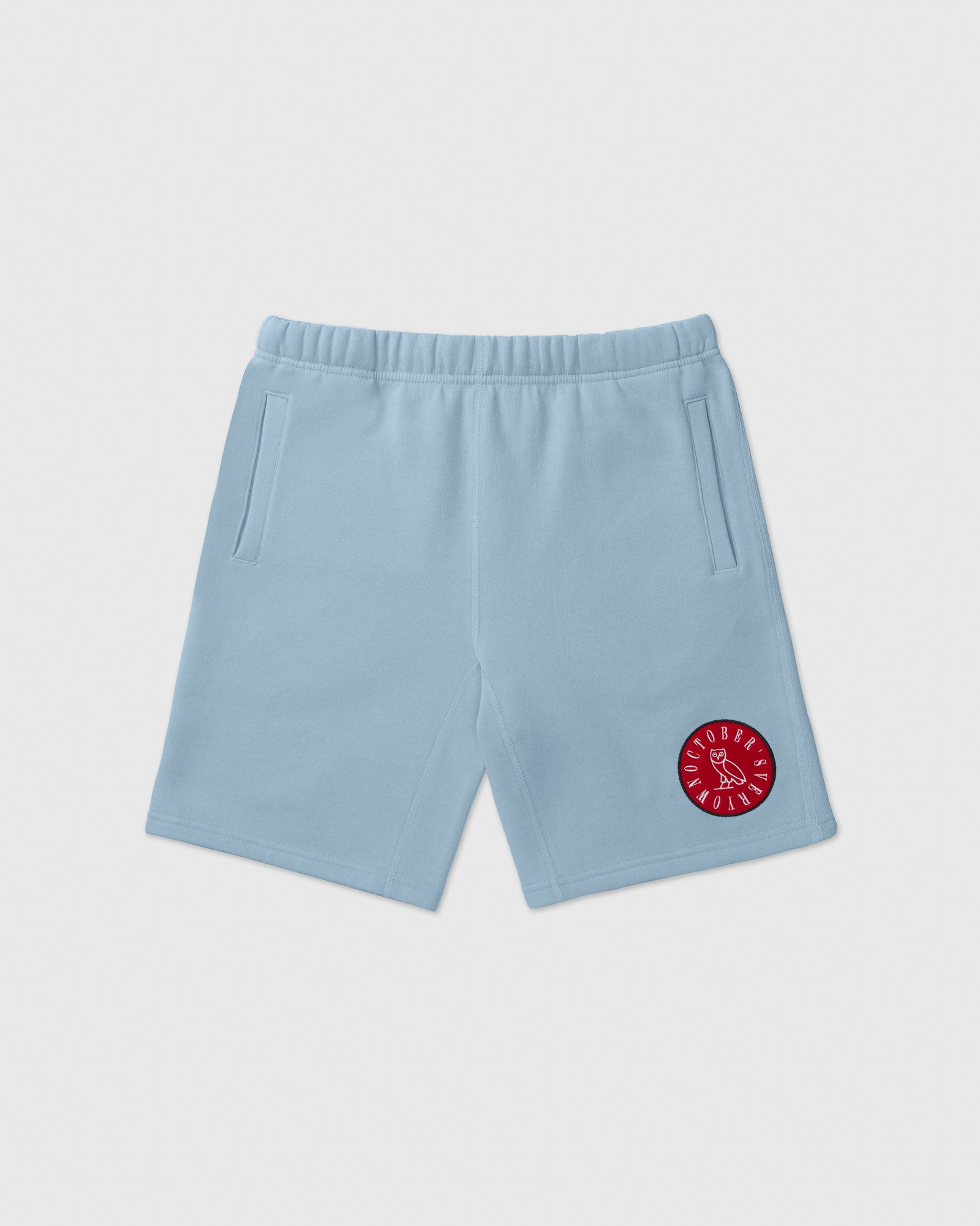 CIRCLE WORDMARK PATCH SWEAT SHORT - SKY BLUE IMAGE #1