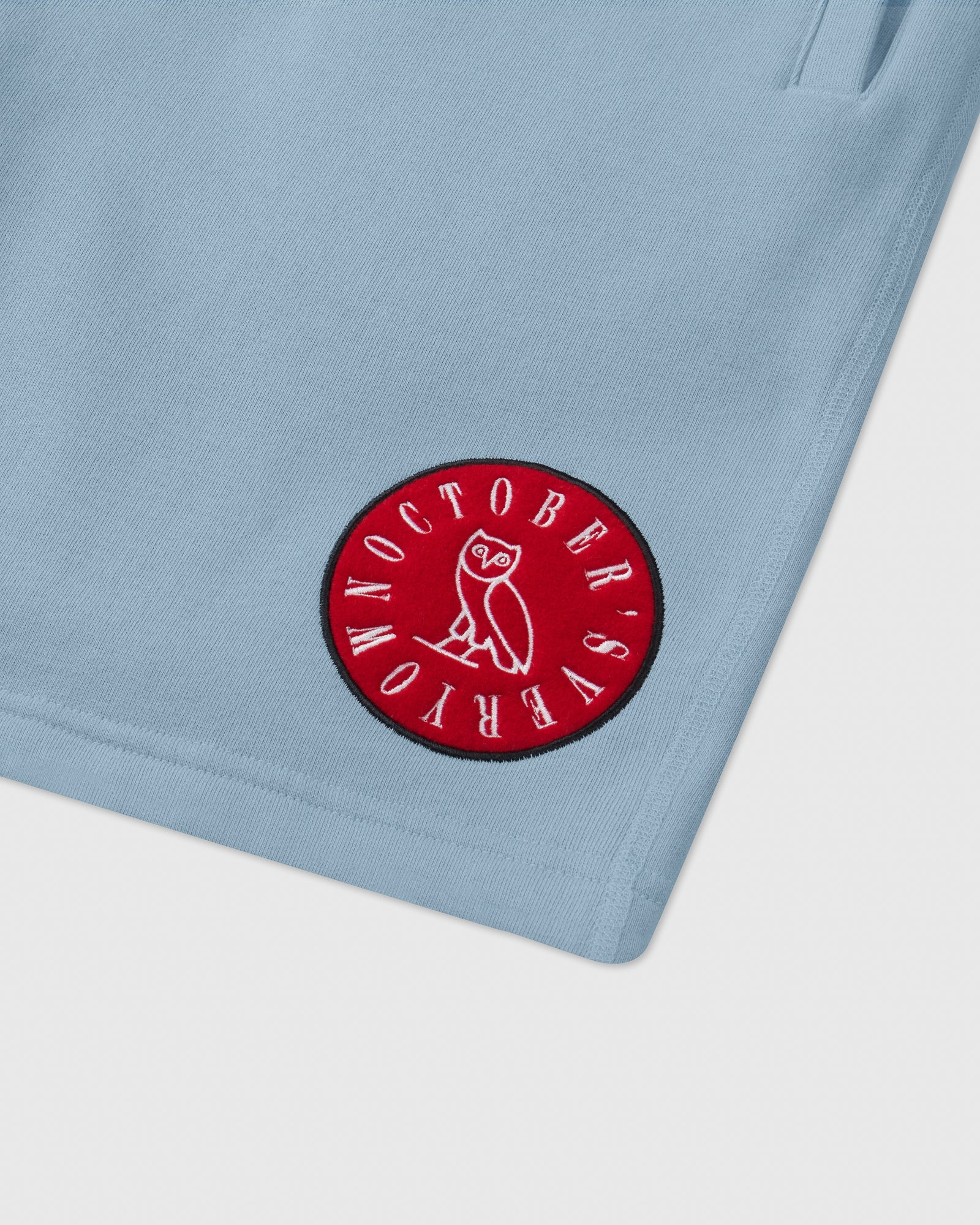 CIRCLE WORDMARK PATCH SWEAT SHORT - SKY BLUE IMAGE #2