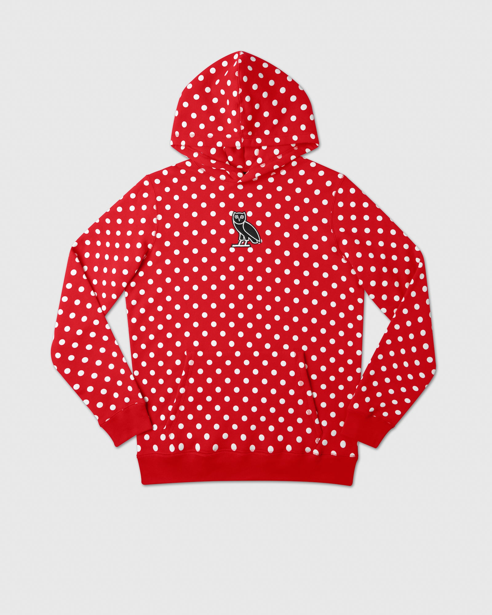 CLASSIC OWL HOODIE - RED POLKA DOT IMAGE #1