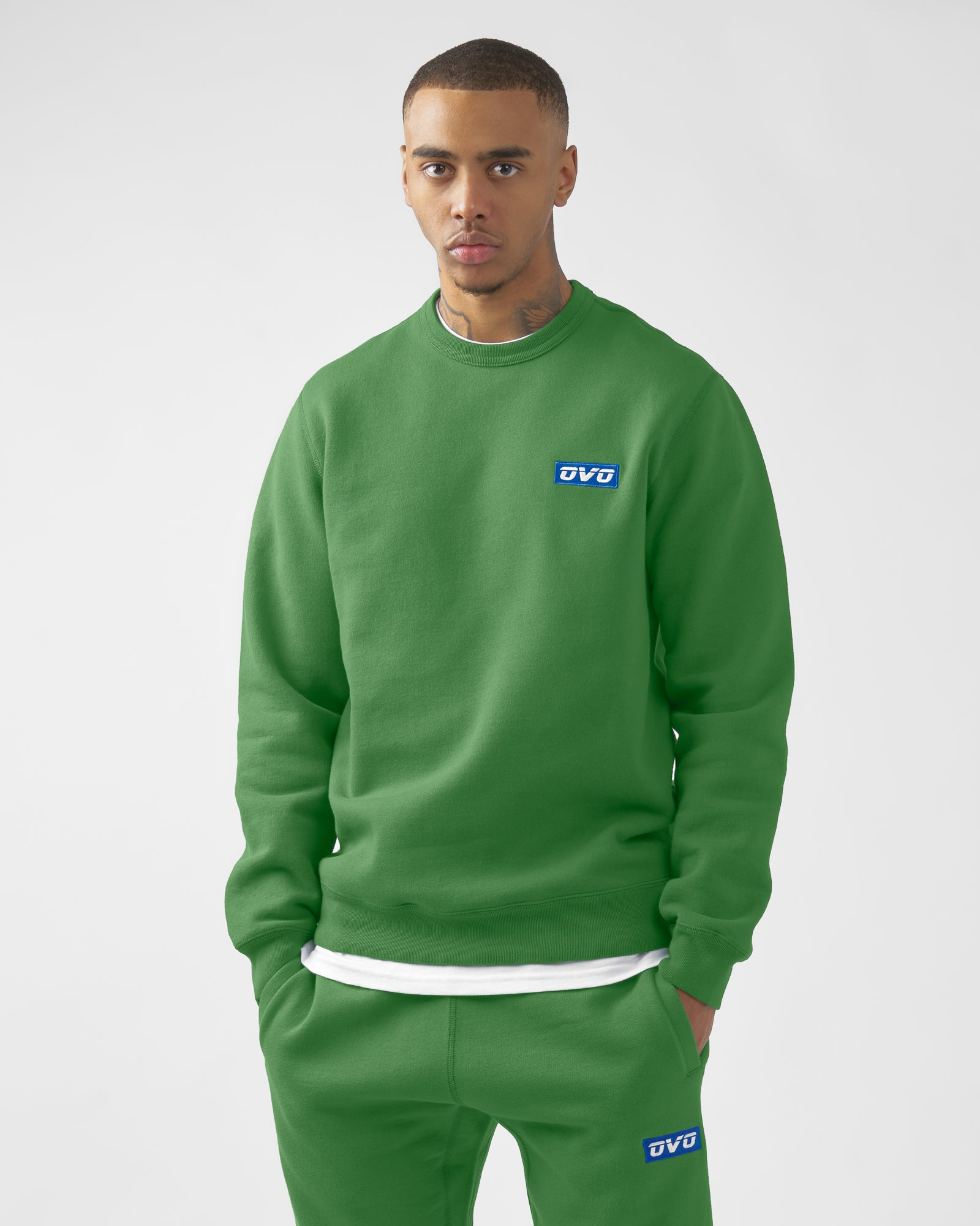 EMBROIDERED RUNNER LOGO CREWNECK - FERN IMAGE #2