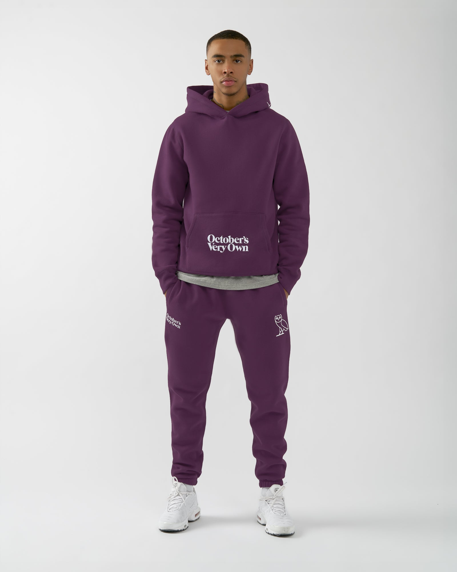 FAMILIA EMBROIDERED POCKET HOODIE - DARK PURPLE IMAGE #2