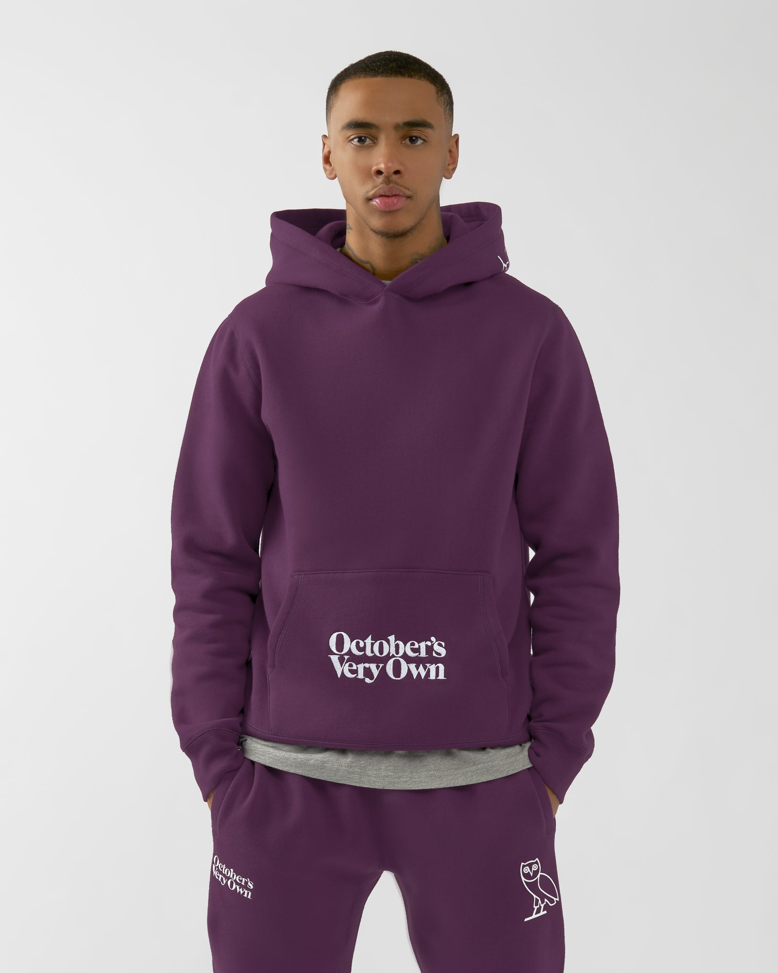 FAMILIA EMBROIDERED POCKET HOODIE - DARK PURPLE IMAGE #3