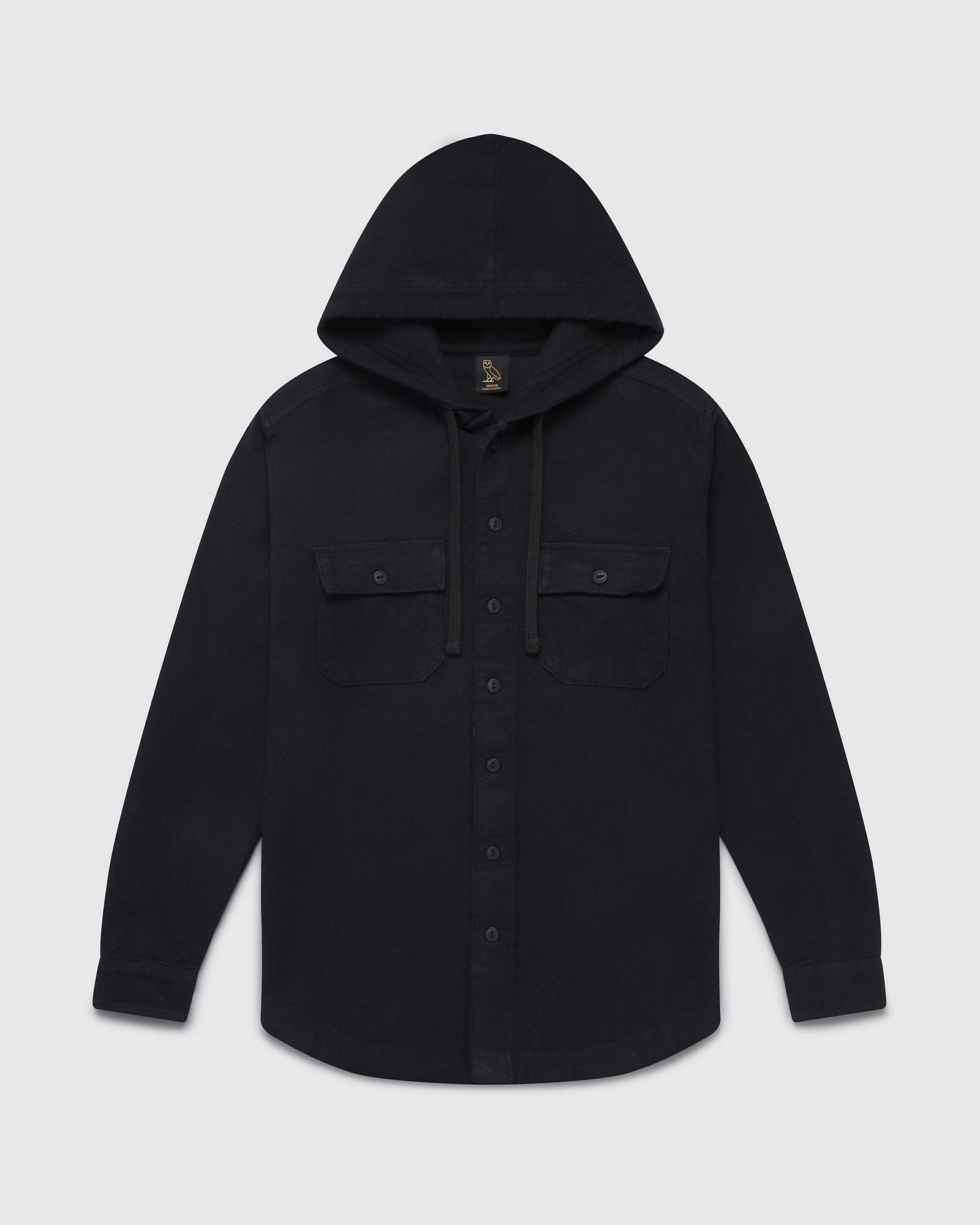 OVO HOODED FLANNEL SHIRT - SOLID BLACK IMAGE #2