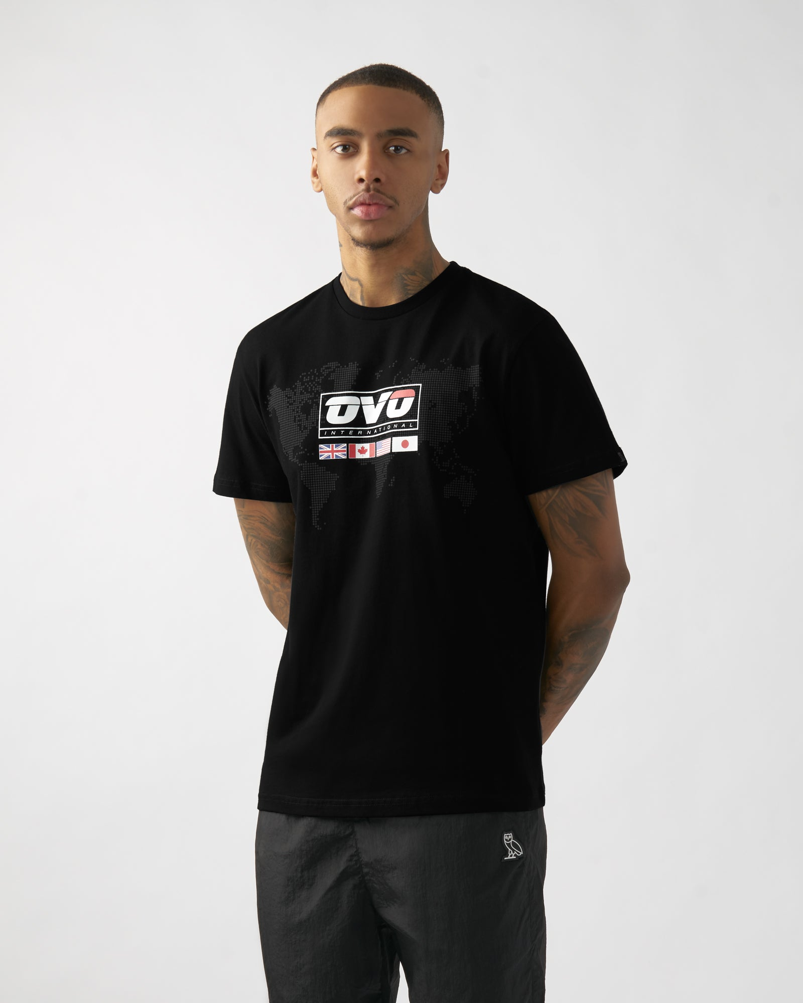 OVO INTERNATIONAL GRID T-SHIRT - BLACK IMAGE #3
