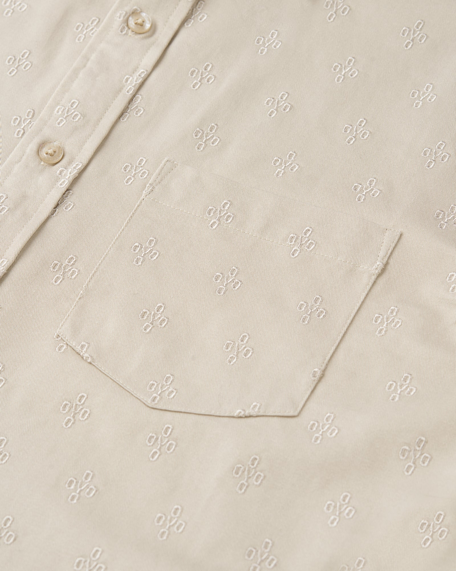 MONOGRAM EMBROIDERED BUTTON DOWN SHIRT - SAND IMAGE #2