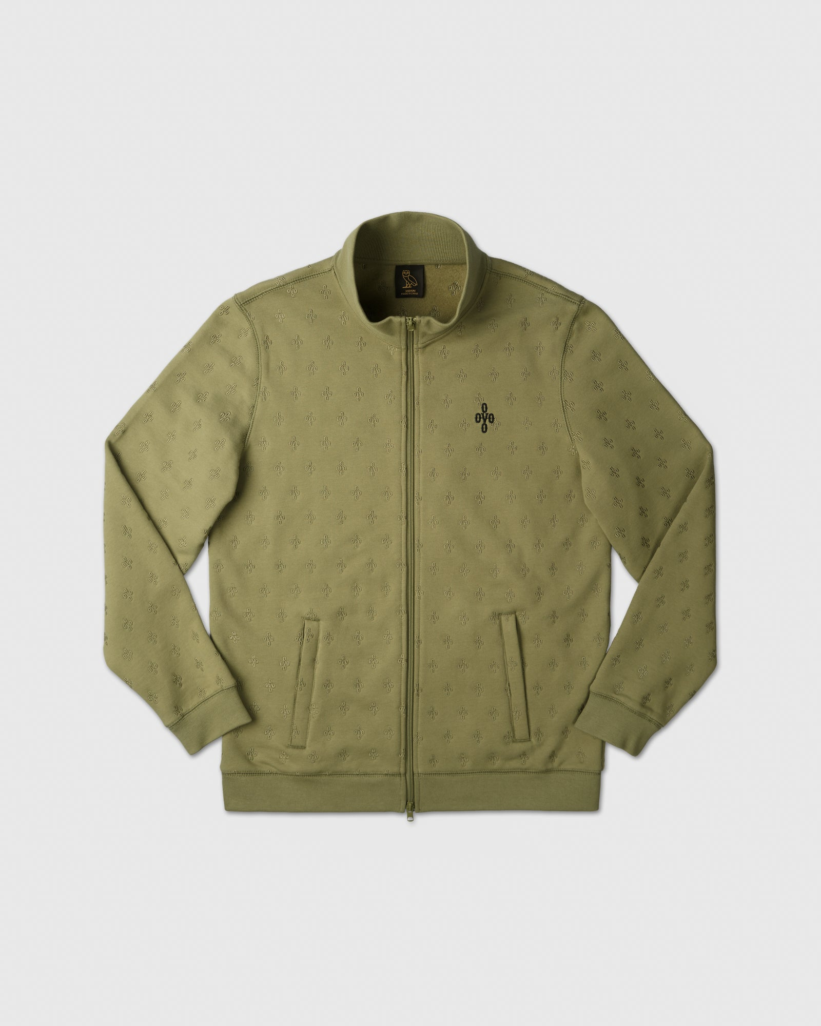 MONOGRAM EMBROIDERED TRACK JACKET - OLIVE IMAGE #1