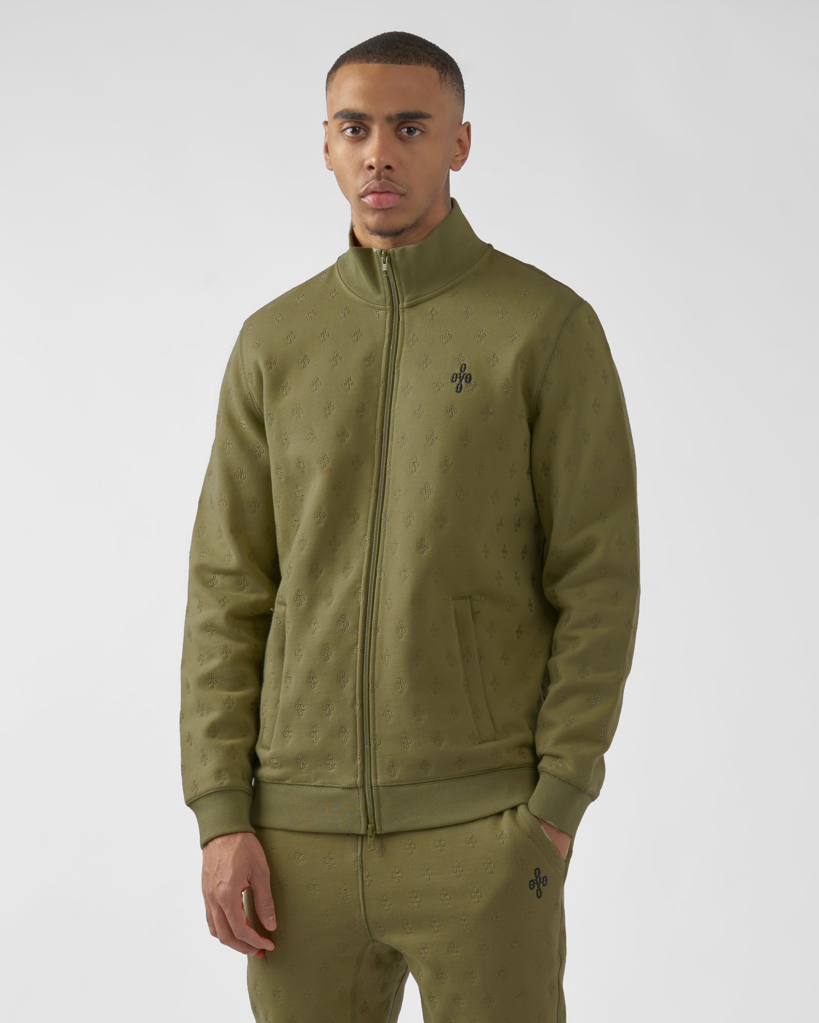 MONOGRAM EMBROIDERED TRACK JACKET - OLIVE IMAGE #3
