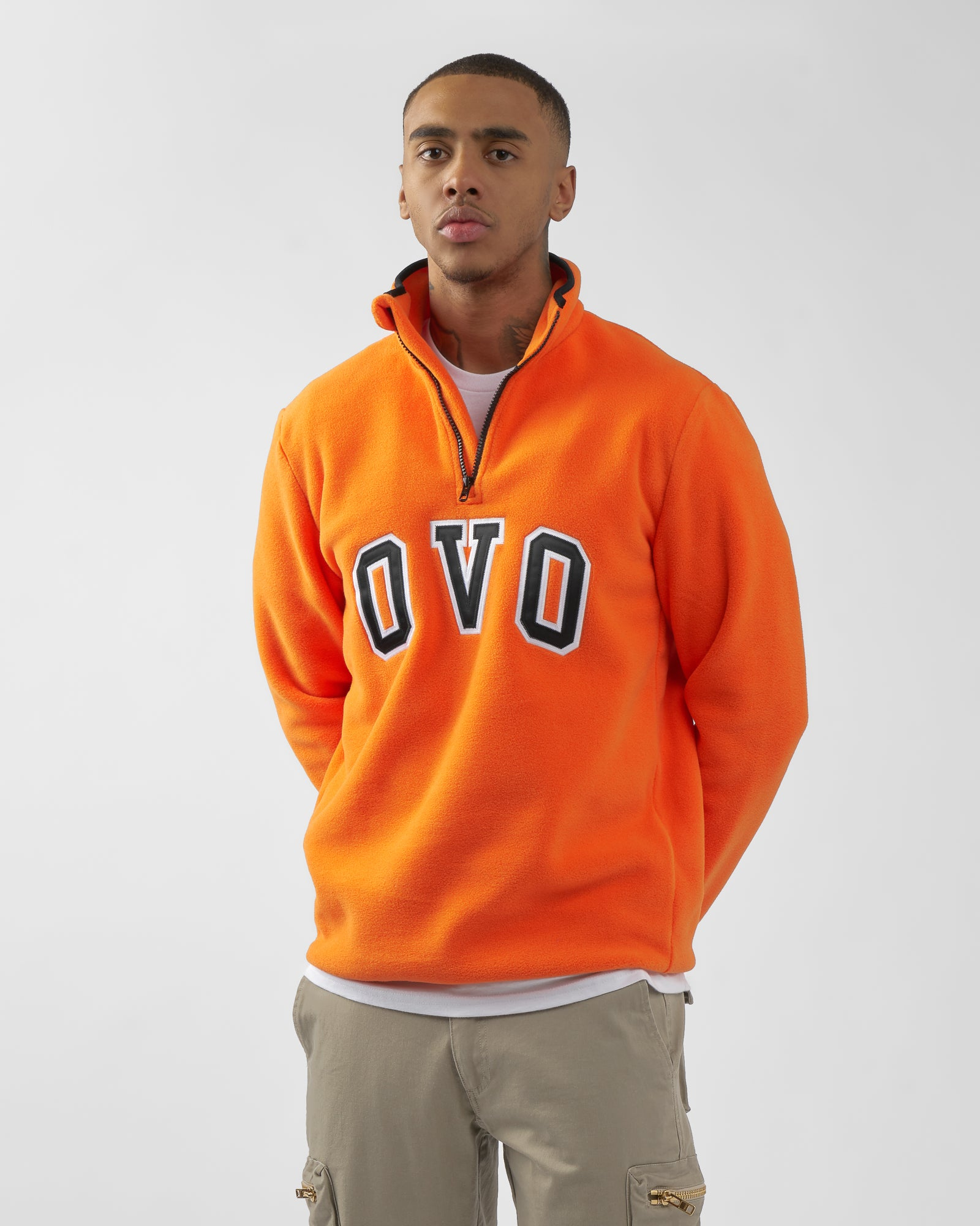 OVO ARCH POLAR FLEECE HALF ZIP - ORANGE IMAGE #2