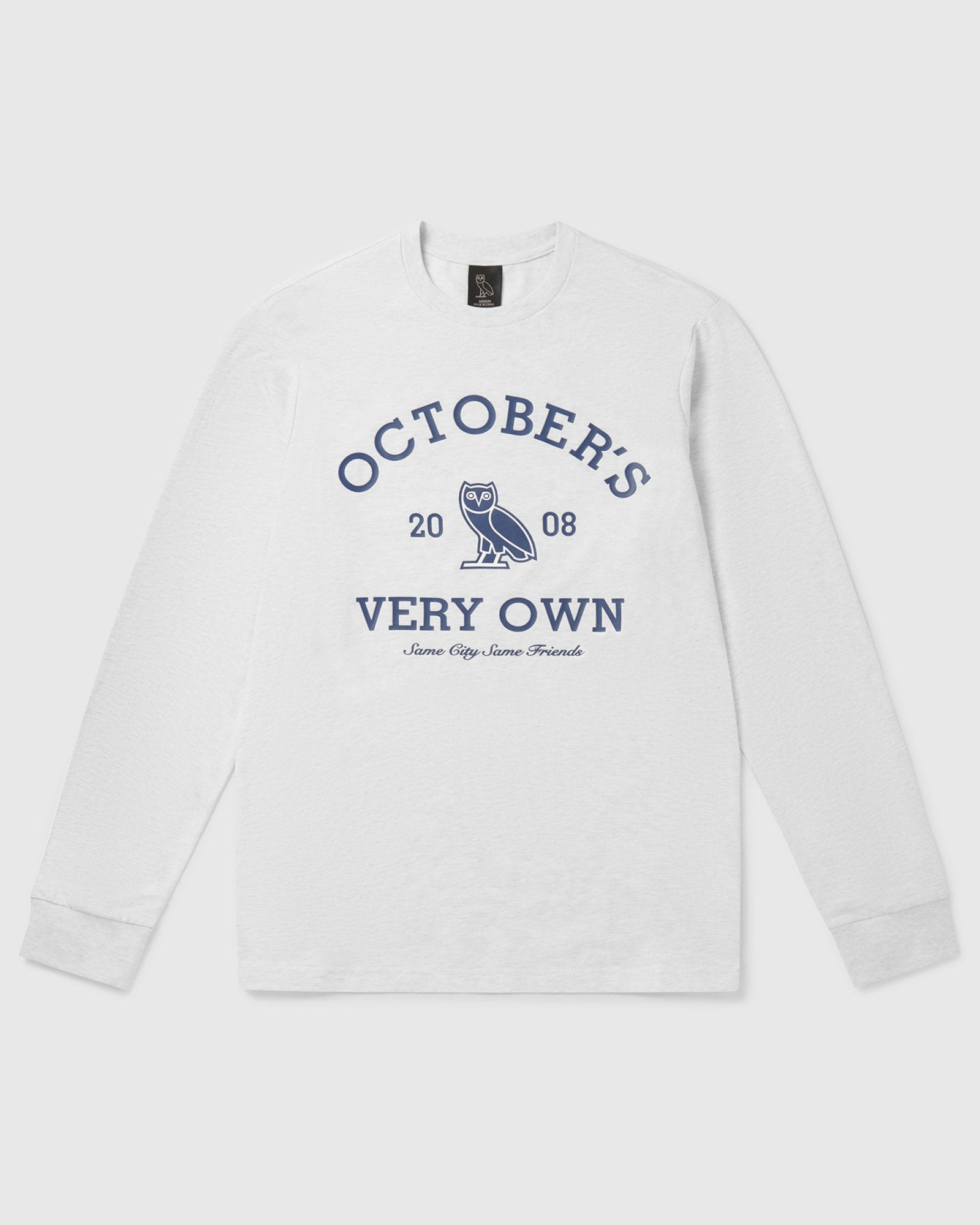 OVO COLLEGIATE LONGSLEEVE T-SHIRT - ASH HEATHER GREY IMAGE #1