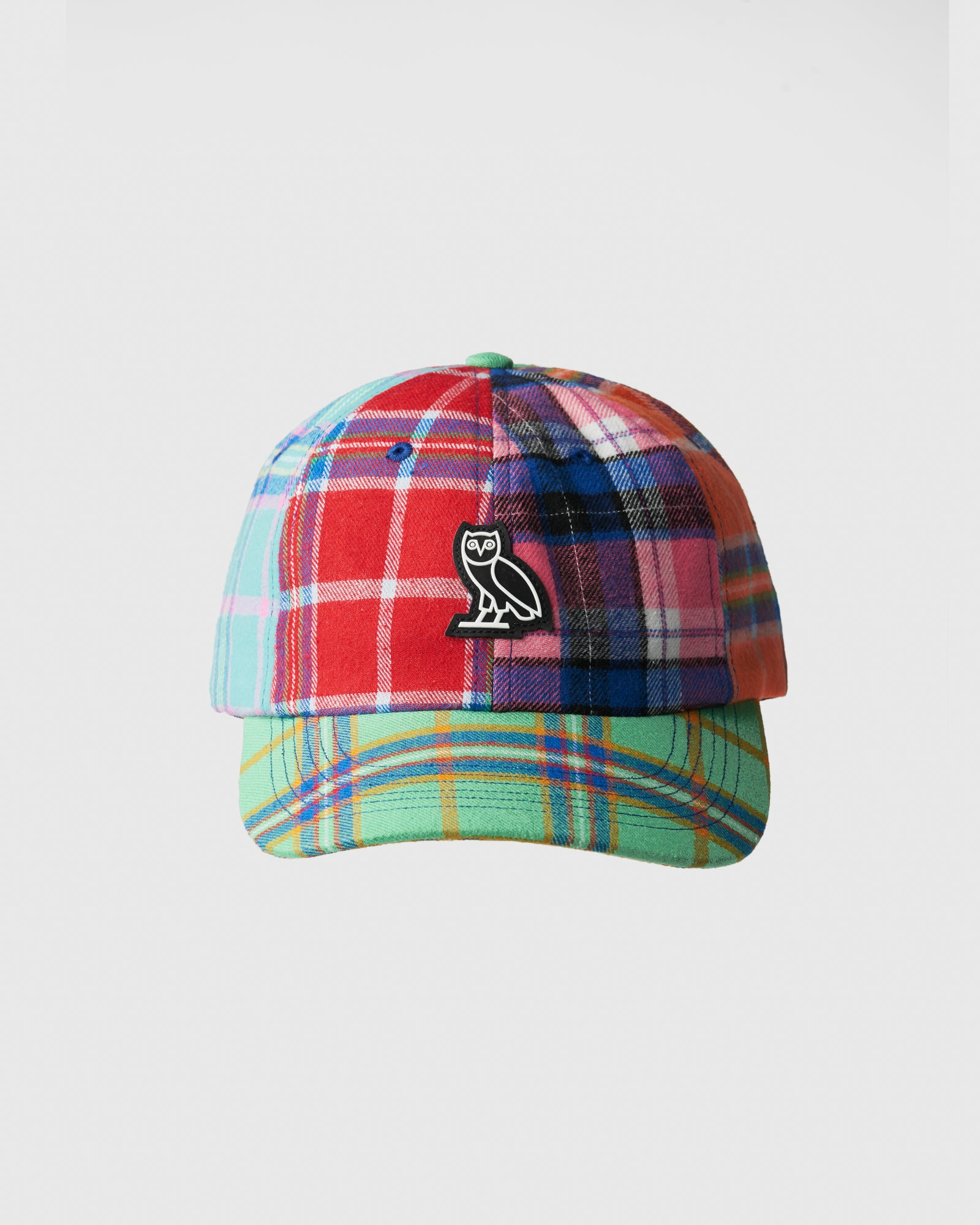 COLOUR BLOCK POM POM PLAID SPORT CAP - MULTI COLOUR IMAGE #1