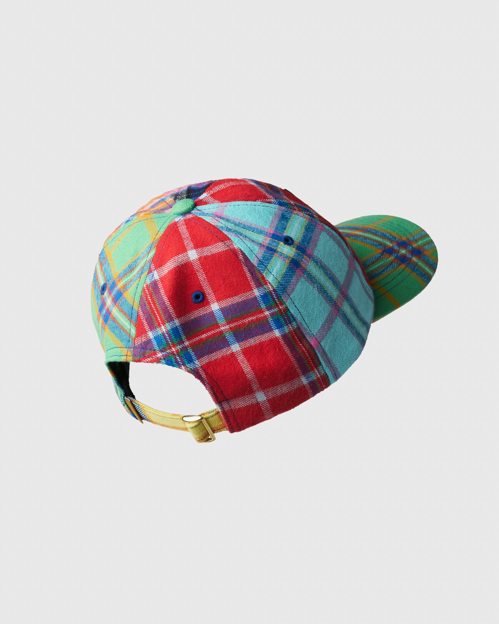 COLOUR BLOCK POM POM PLAID SPORT CAP - MULTI COLOUR IMAGE #2