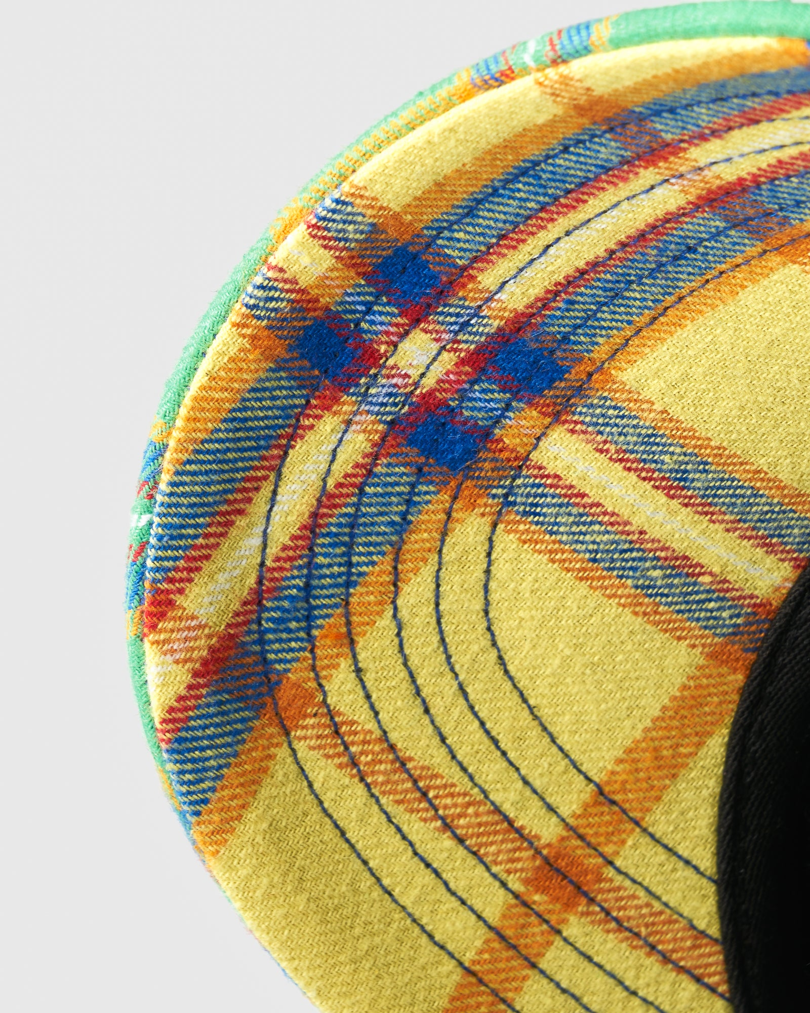 COLOUR BLOCK POM POM PLAID SPORT CAP - MULTI COLOUR IMAGE #3
