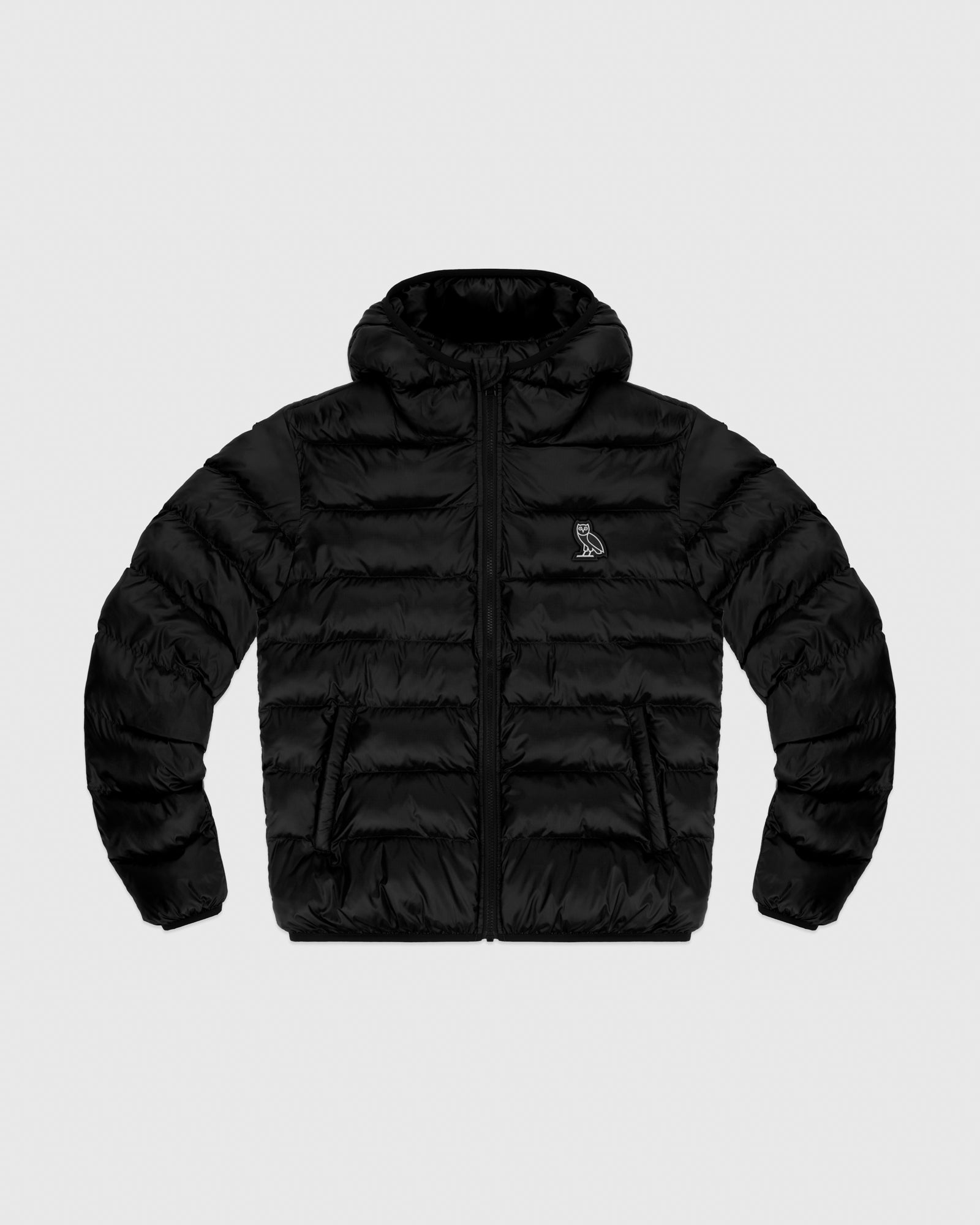 HOODED PUFFER JACKET - BLACK IMAGE #1