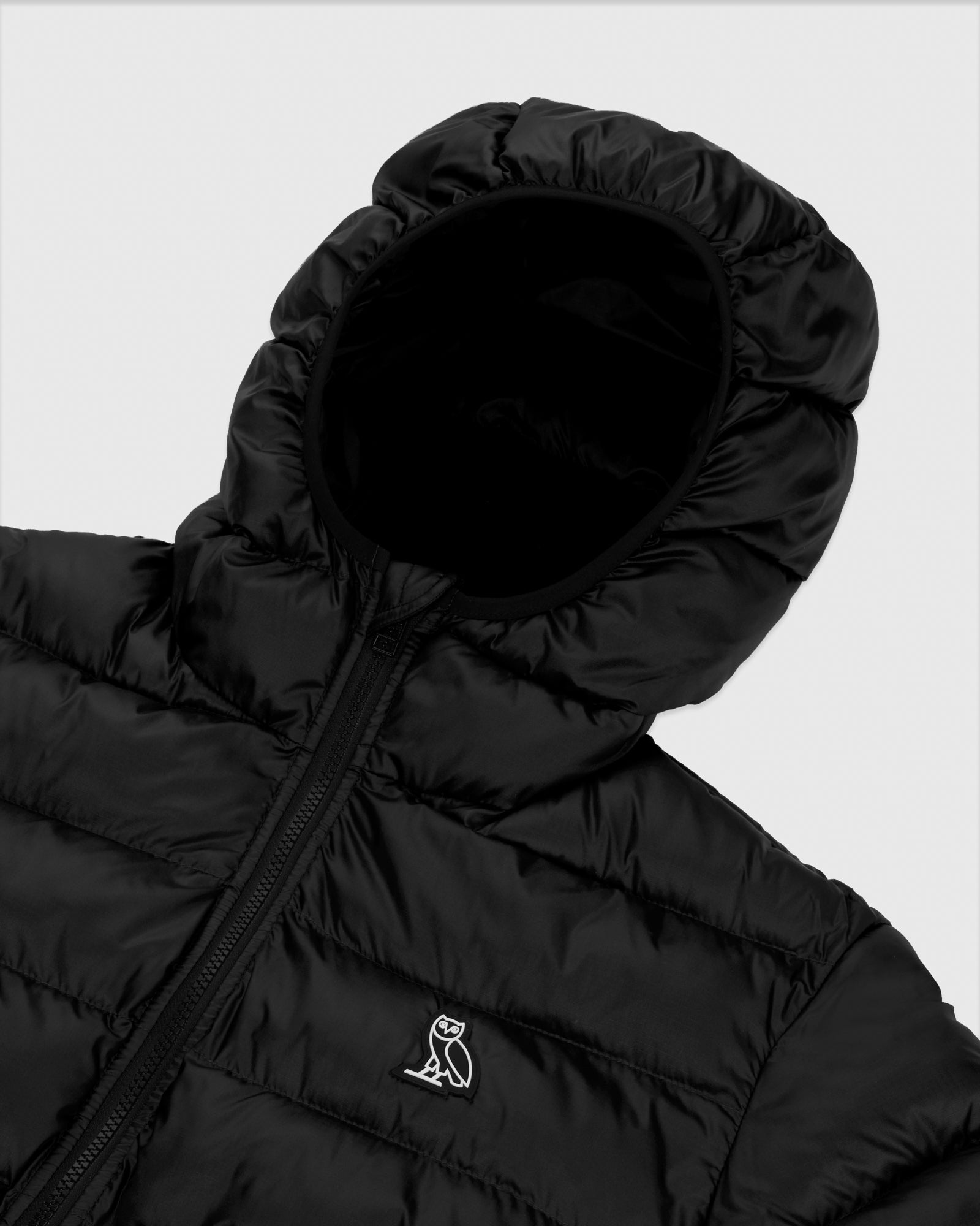 HOODED PUFFER JACKET - BLACK IMAGE #4