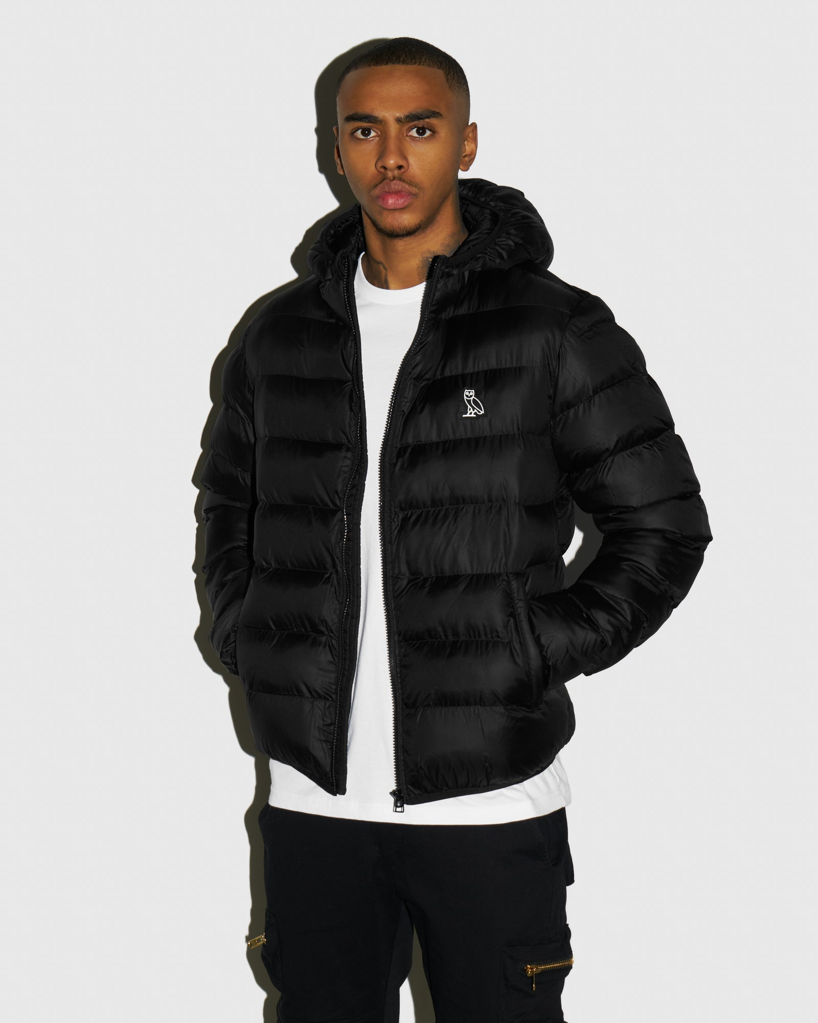 HOODED PUFFER JACKET - BLACK IMAGE #2