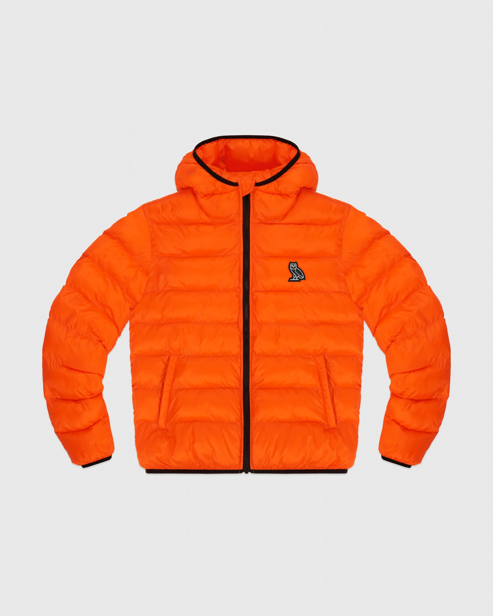 HOODED PUFFER JACKET - ORANGE IMAGE #1