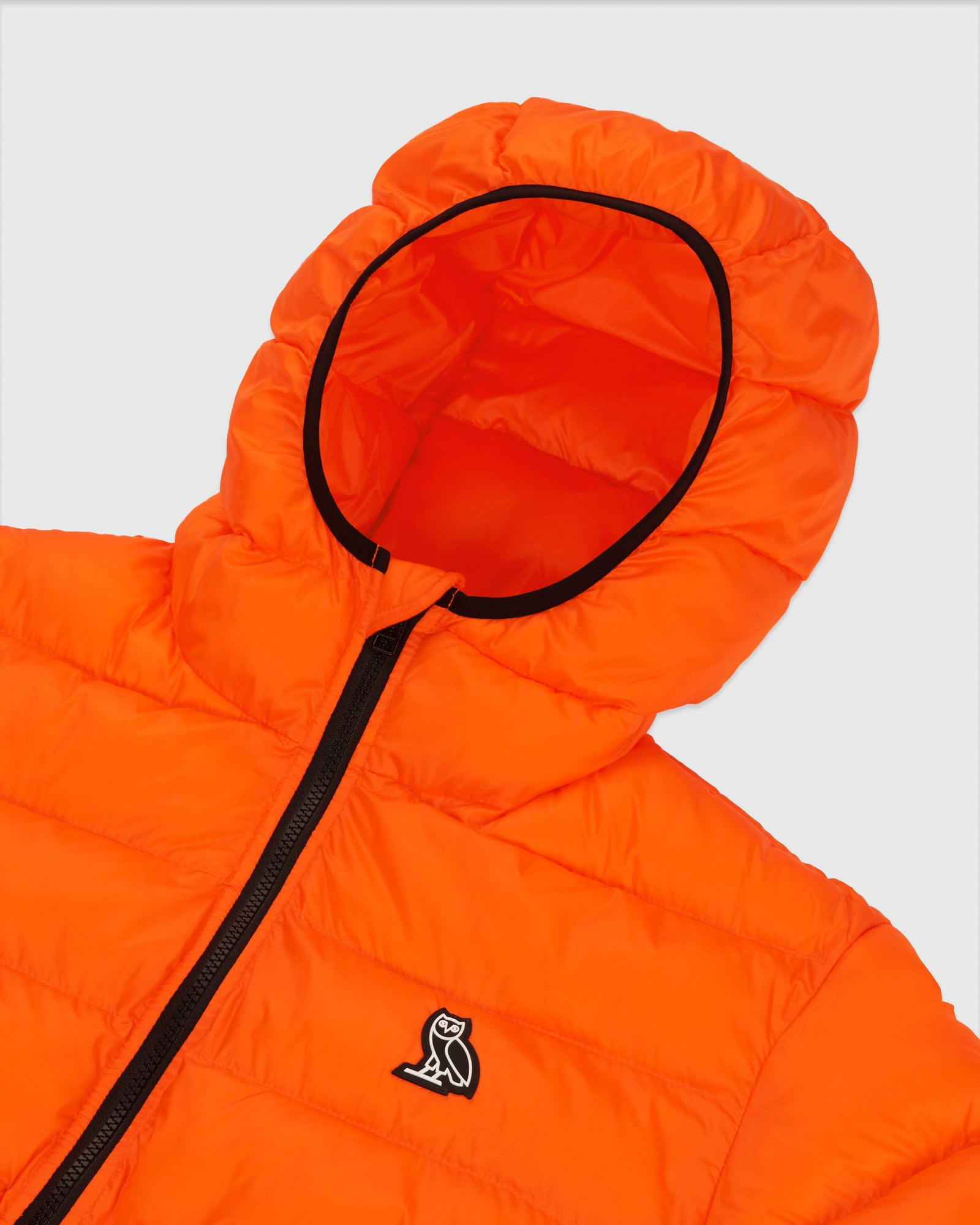 HOODED PUFFER JACKET - ORANGE IMAGE #4